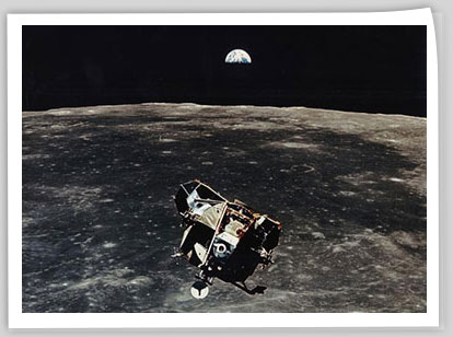 The Apollo 11 Lunar Module above the Moon