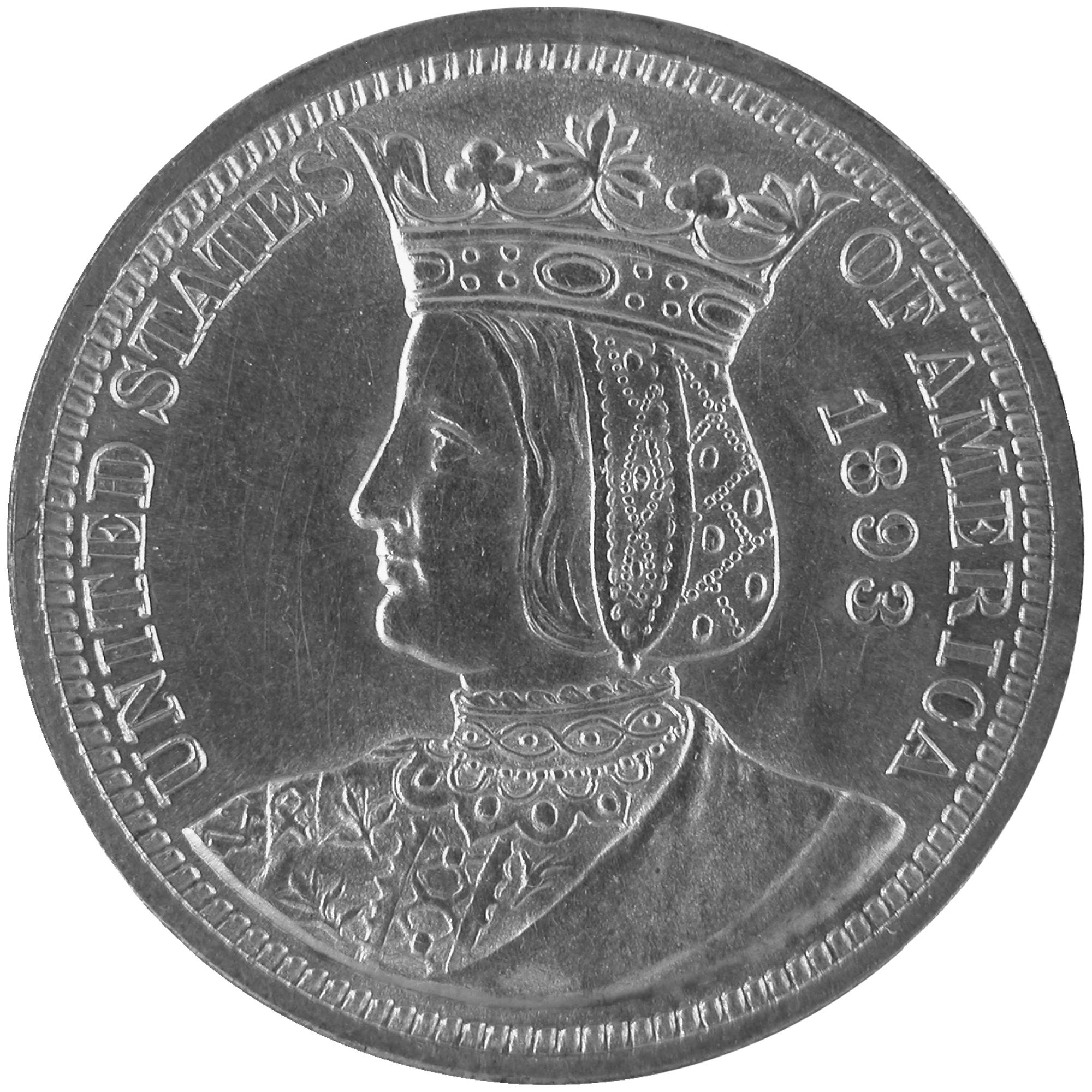 1893 Queen Isabella Commemorative Silver Quarter Dollar Coin Obverse