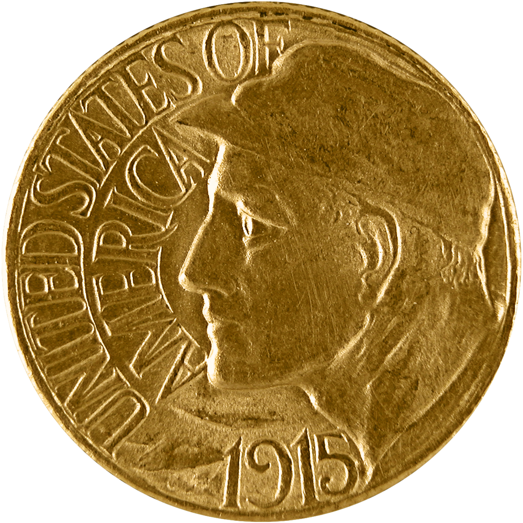1915 Panama Pacific Exposition Commemorative Gold One Dollar Coin Obverse