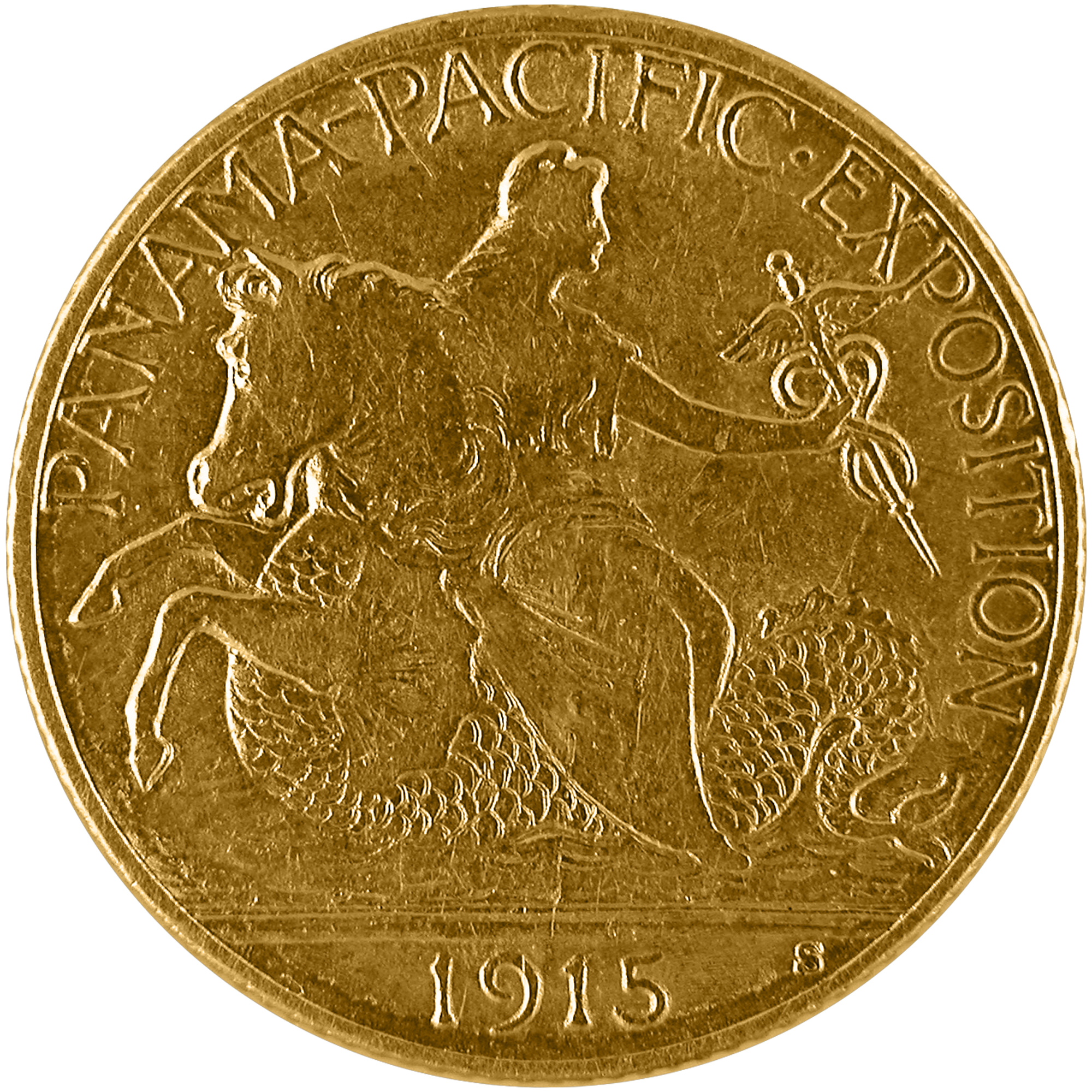 1915 Panama Pacific Exposition Commemorative Gold Quarter Eagle Two And One Half Dollar Coin Obverse