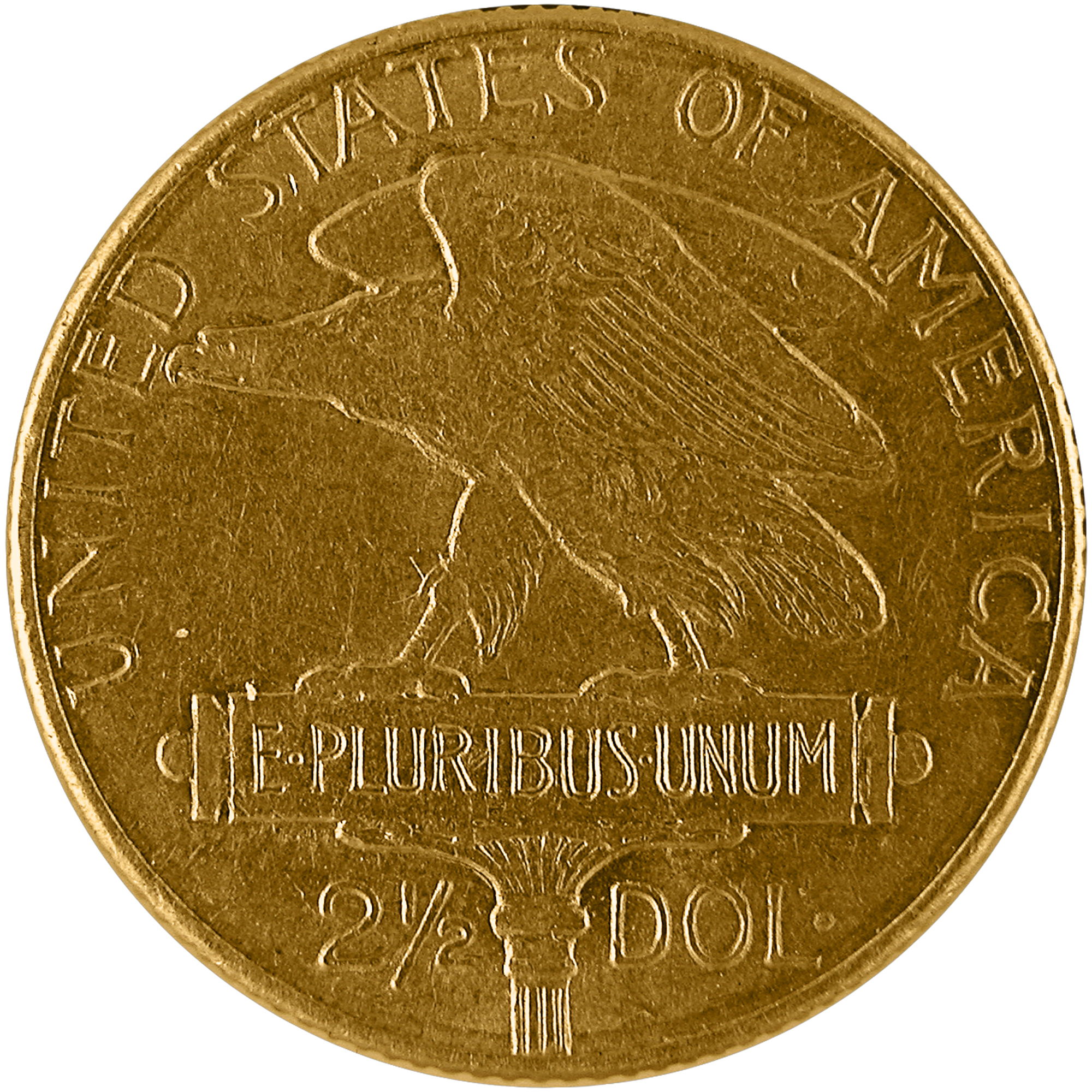 1915 Panama Pacific Exposition Commemorative Gold Quarter Eagle Two And One Half Dollar Coin Reverse