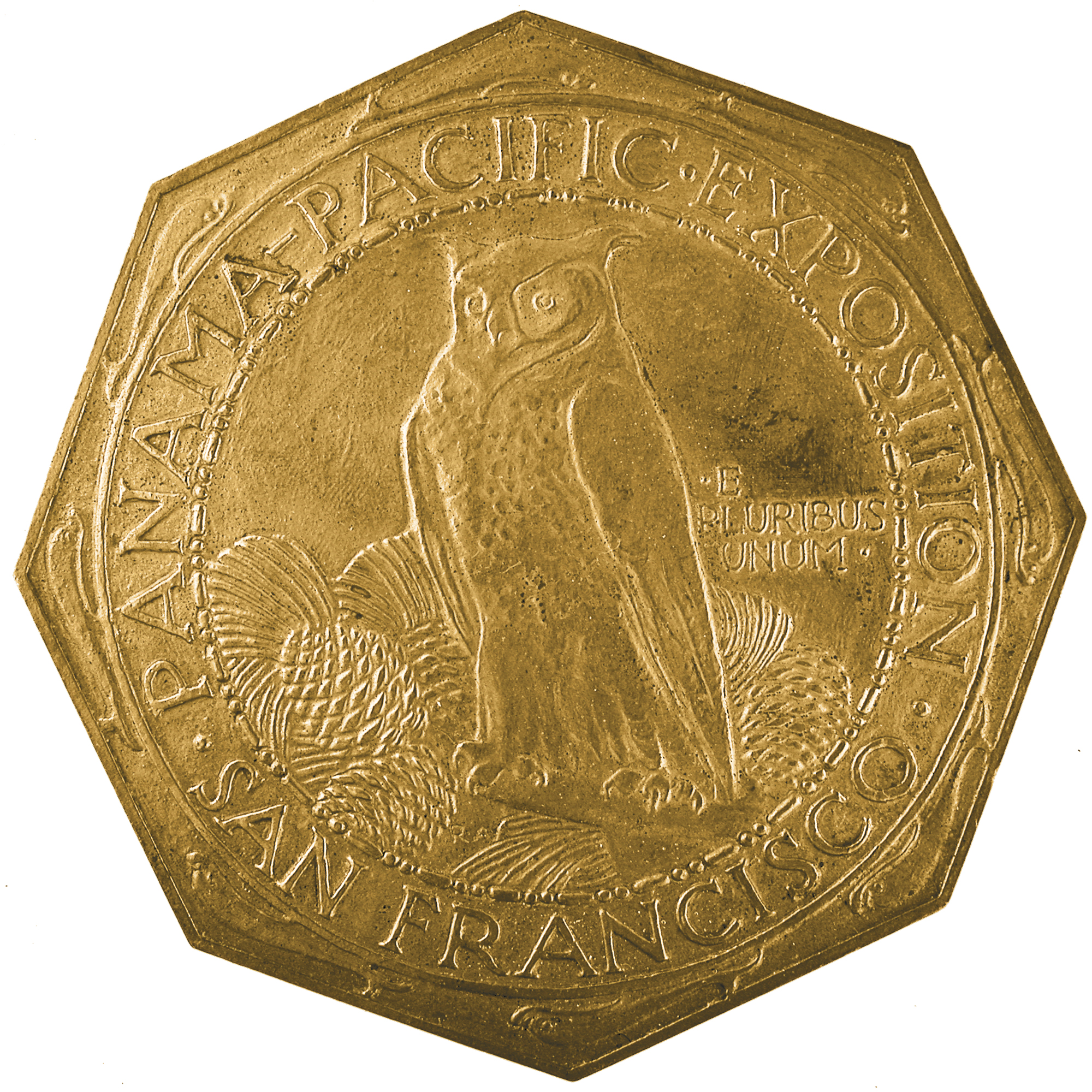 1915 Panama Pacific Exposition Commemorative Octagonal Gold Fifty Dollar Coin Obverse