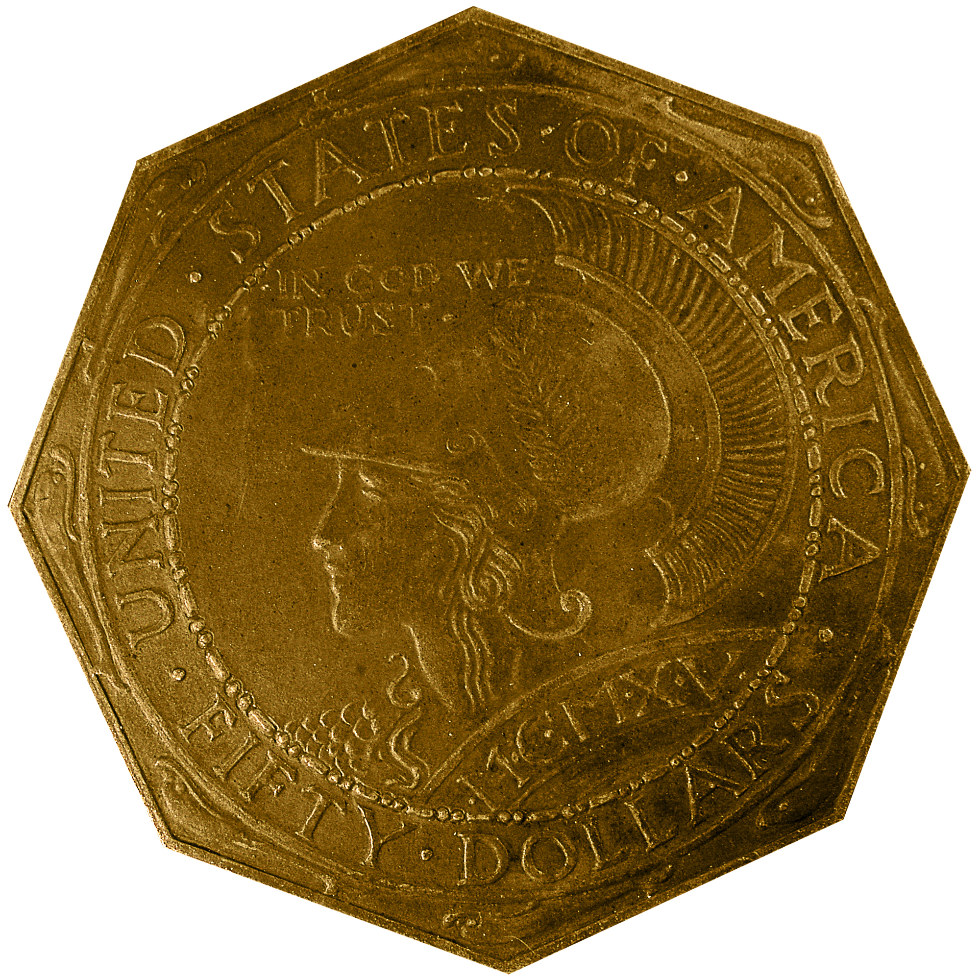 1915 Panama Pacific Exposition Commemorative Octagonal Gold Fifty Dollar Coin Reverse