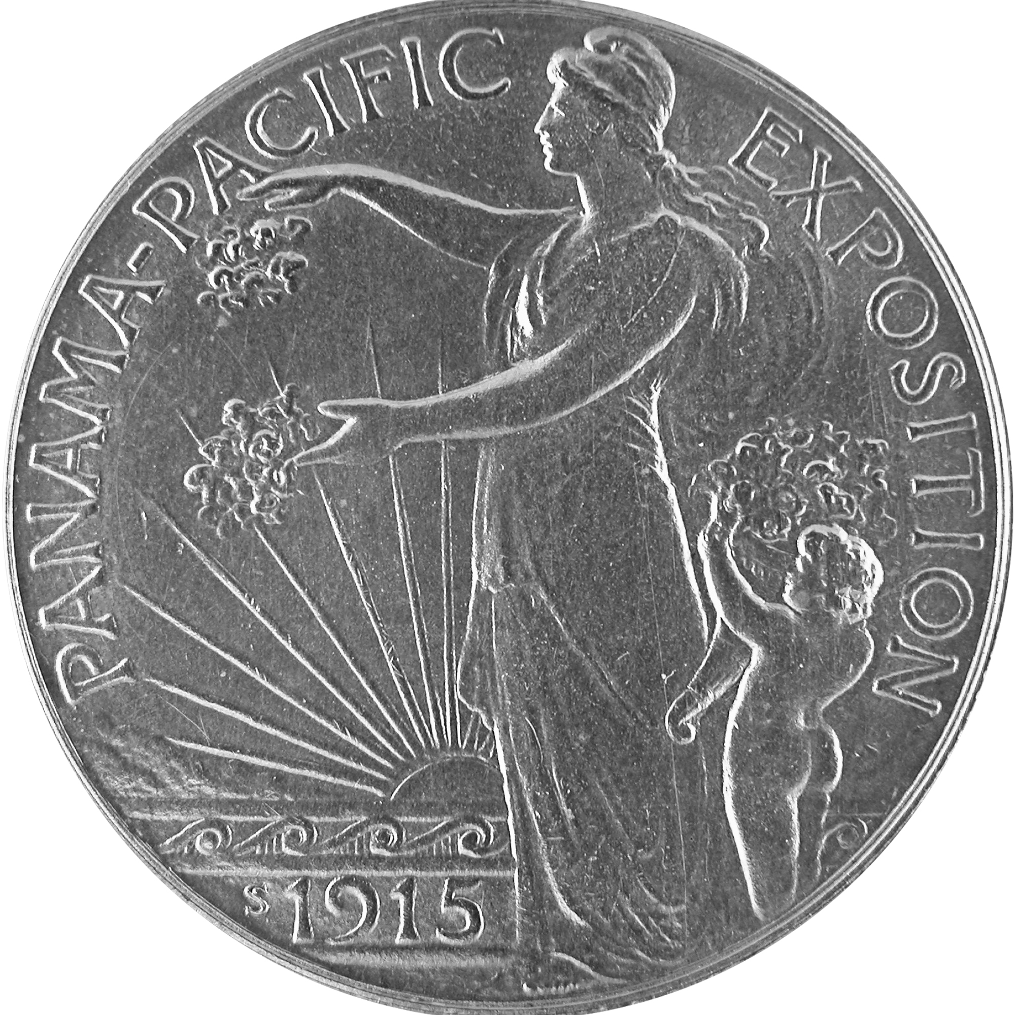 1915 Panama Pacific Exposition Commemorative Silver Half Dollar Coin Obverse