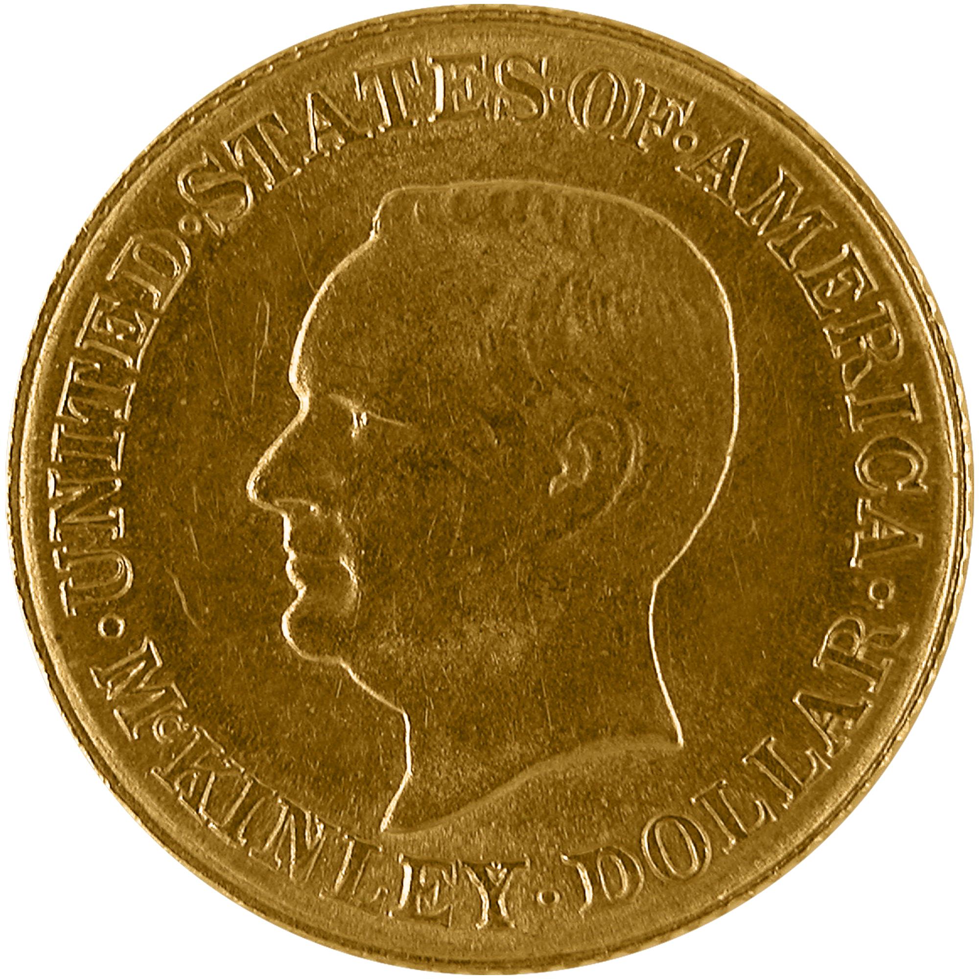 1916 William Mckinley Memorial Commemorative Gold One Dollar Coin Obverse