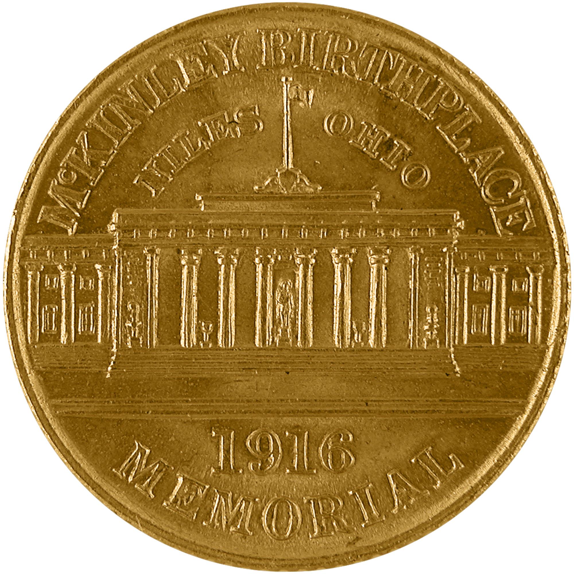 1916 William Mckinley Memorial Commemorative Gold One Dollar Coin Reverse