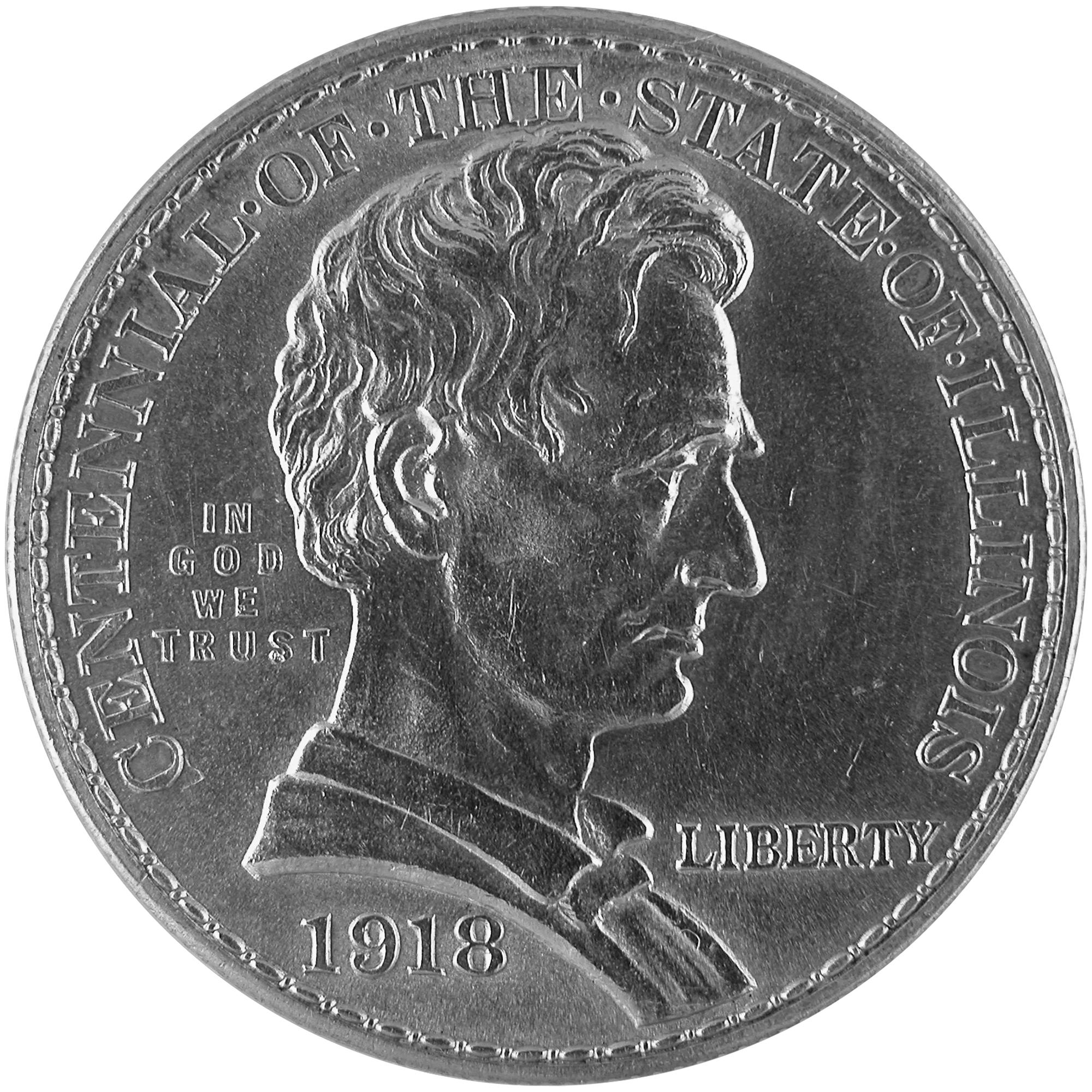 1918 Illinois Centennial Commemorative Silver Half Dollar Coin Obverse