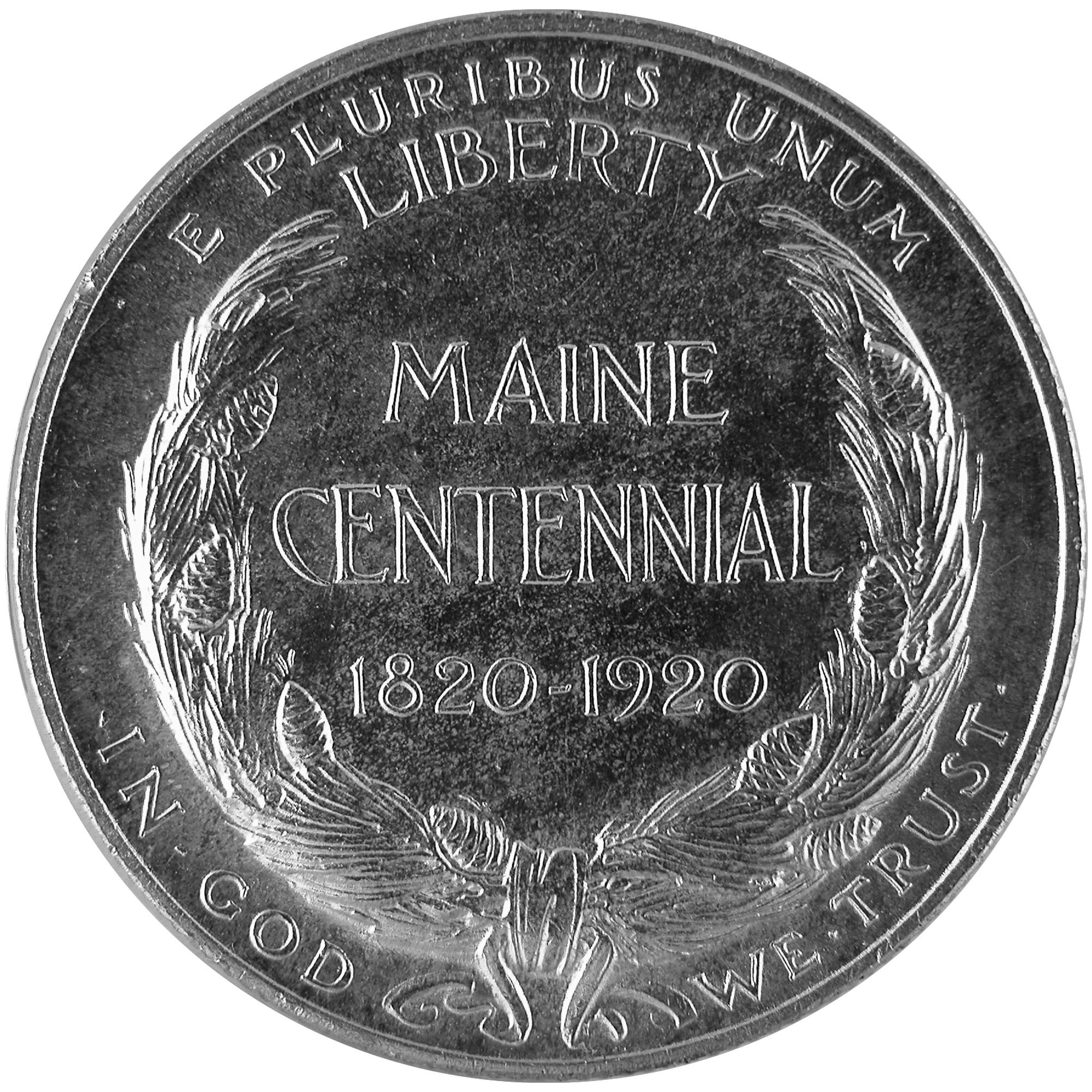1920 Maine Centennial Commemorative Silver Half Dollar Coin Reverse
