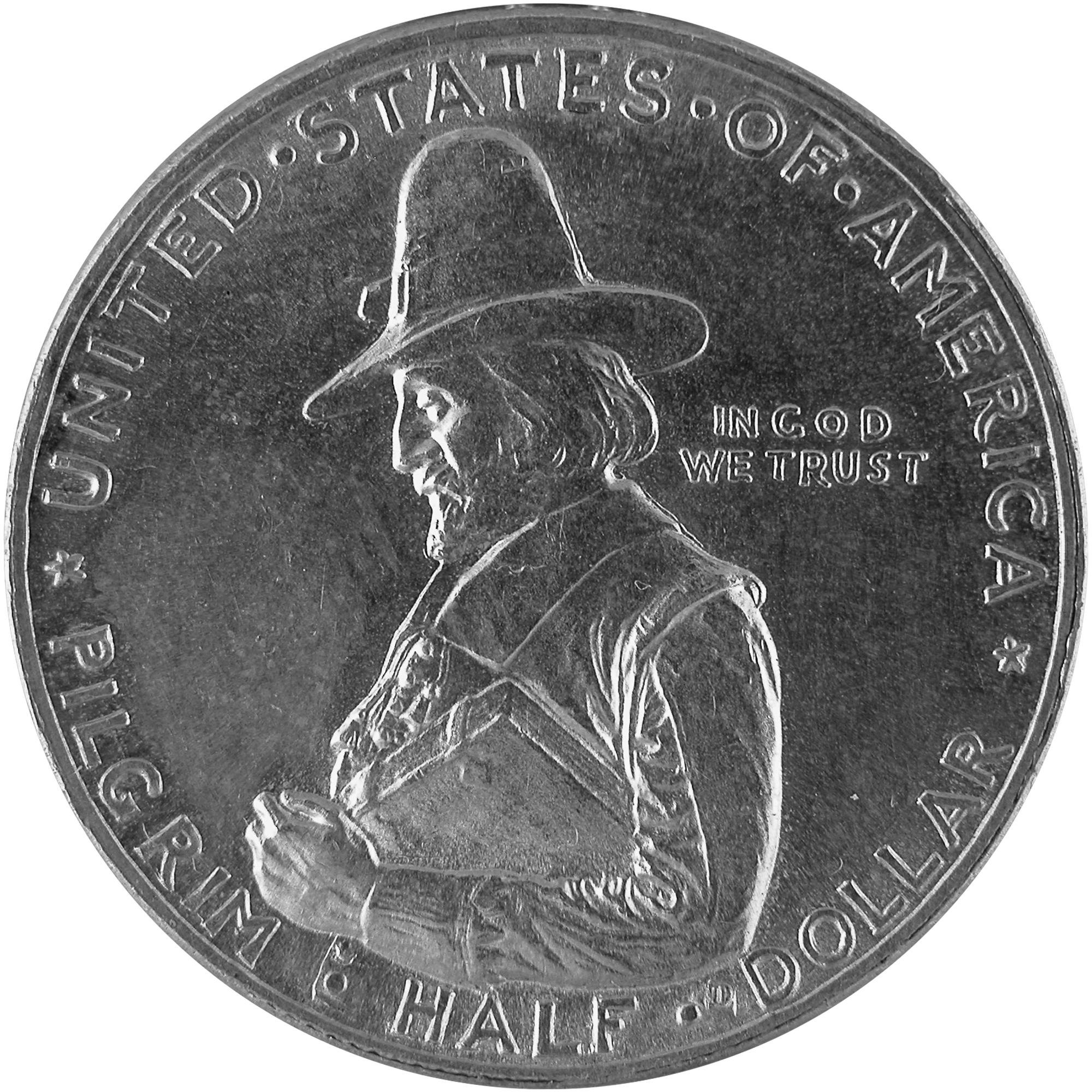 1920 Pilgrim Tercentenary Commemorative Silver Half Dollar Coin Obverse