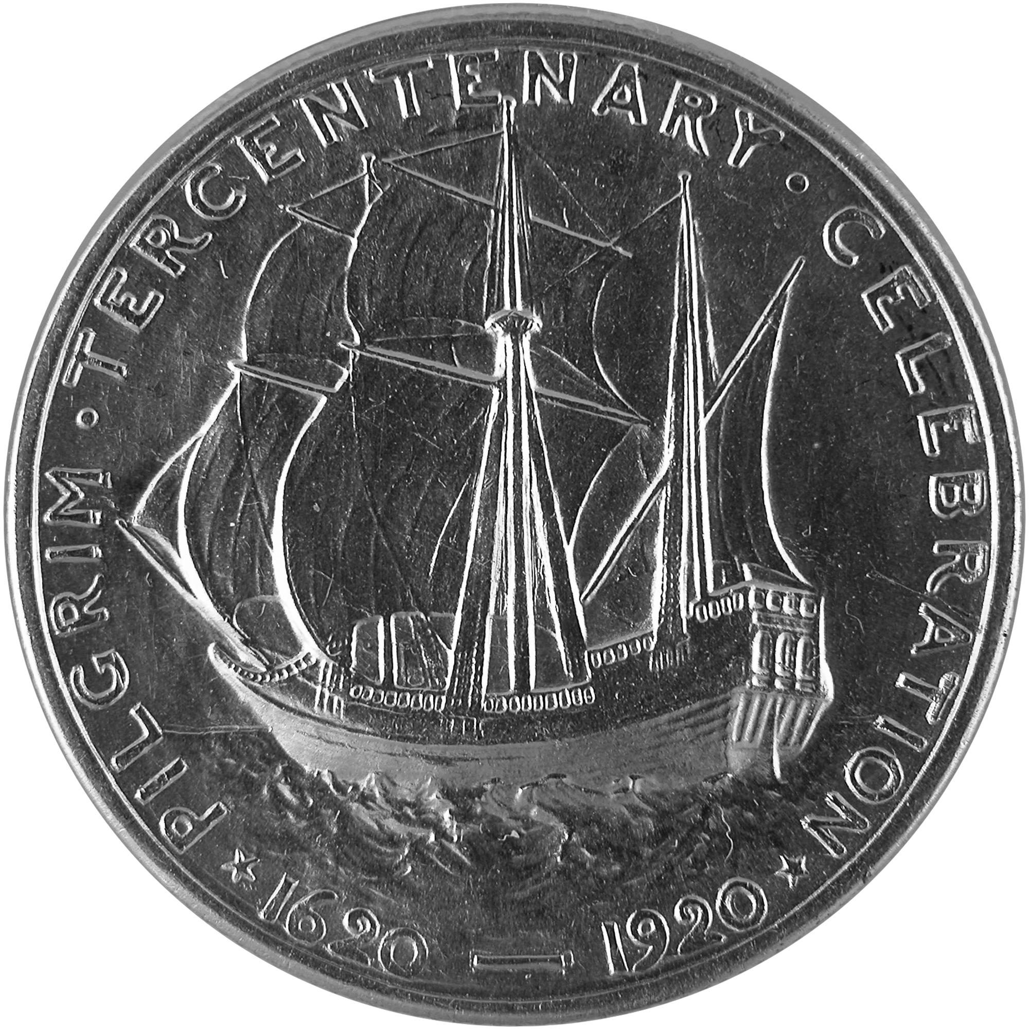1920 Pilgrim Tercentenary Commemorative Silver Half Dollar Coin Reverse