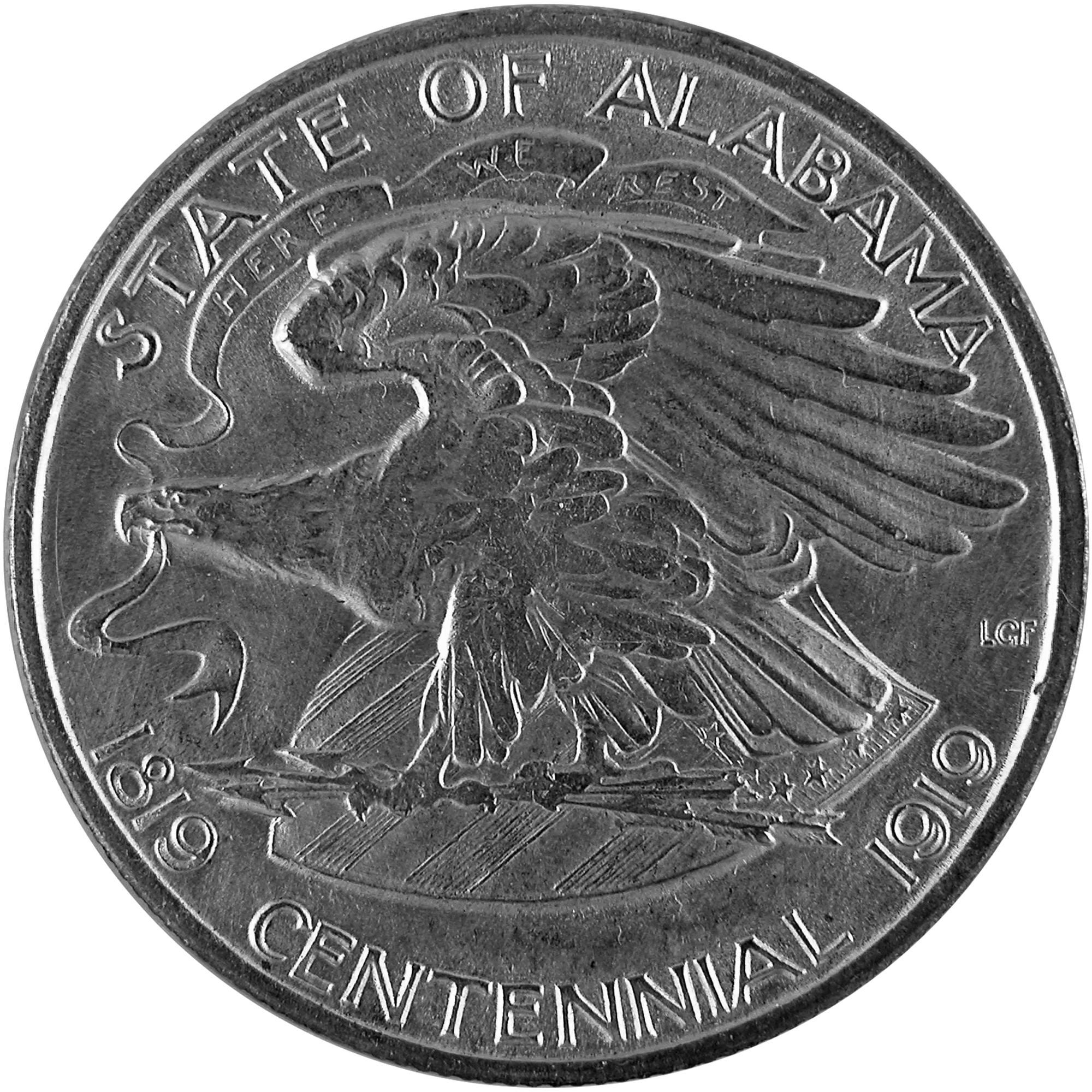 1921 Alabama Centennial Commemorative Silver Half Dollar Coin Reverse
