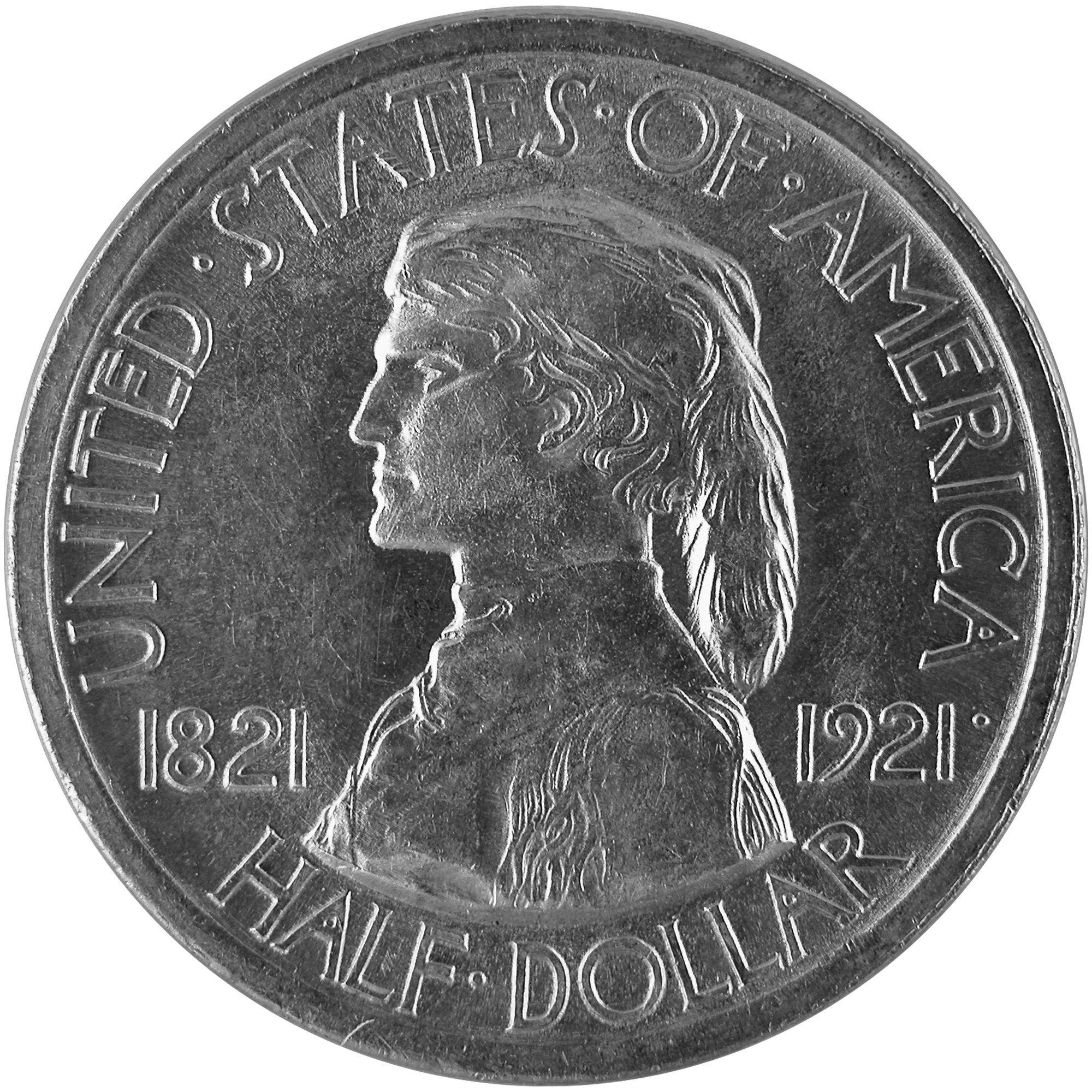1921 Missouri Centennial Commemorative Silver Half Dollar Coin Obverse
