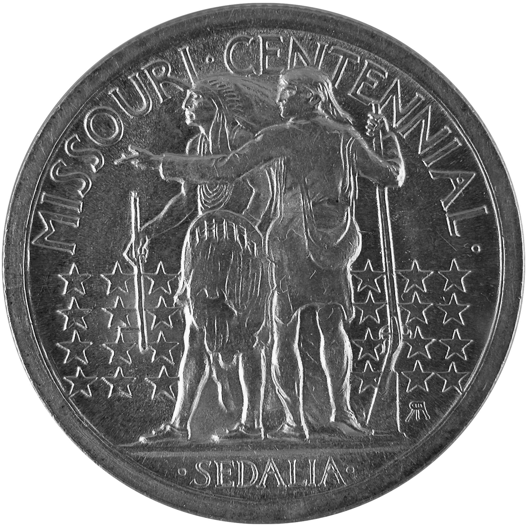 1921 Missouri Centennial Commemorative Silver Half Dollar Coin Reverse