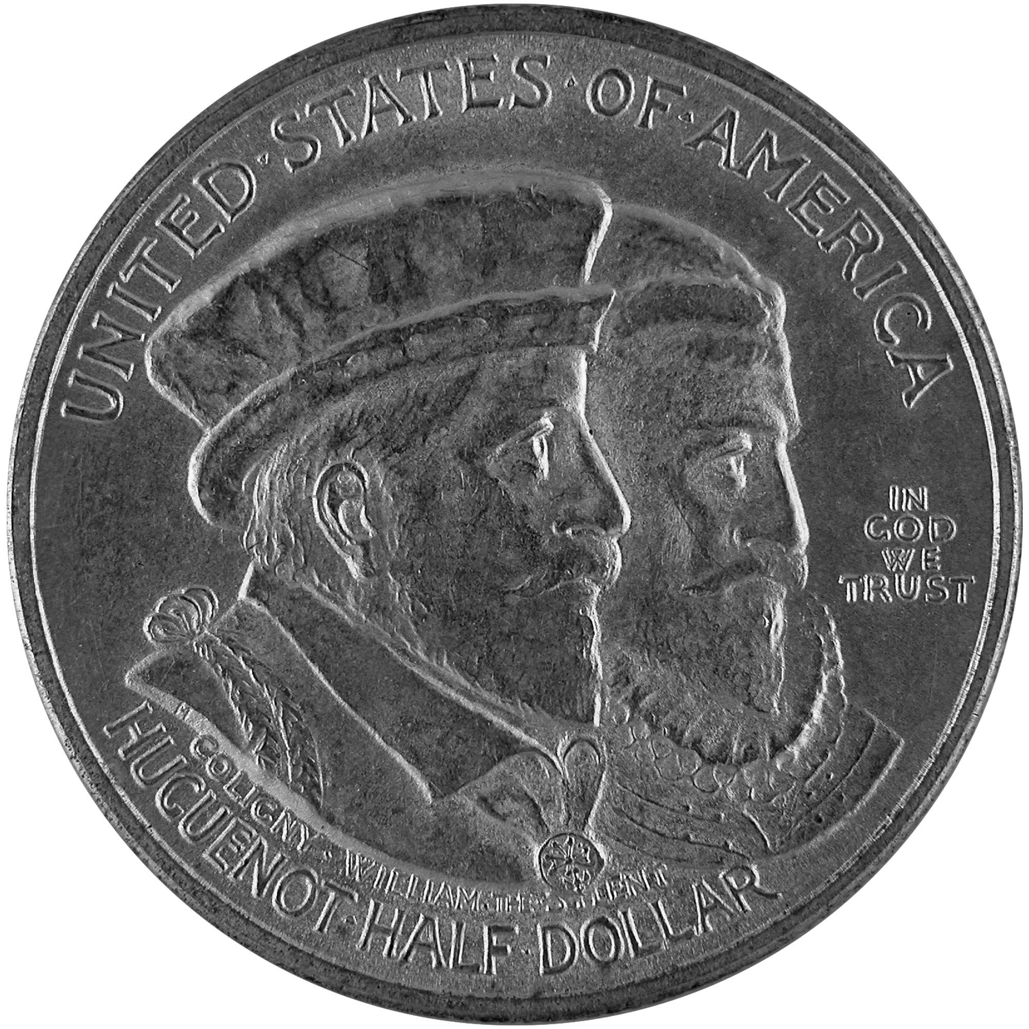 1924 Huguenot Walloon Tercentenary Commemorative Silver Half Dollar Coin Obverse