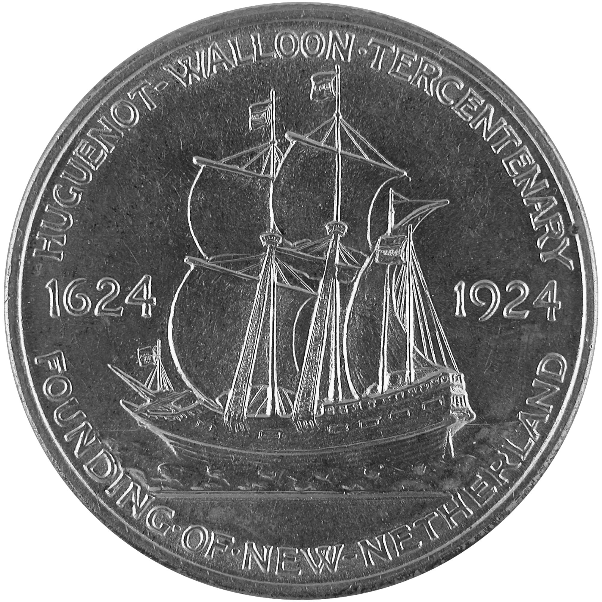 1924 Huguenot Walloon Tercentenary Commemorative Silver Half Dollar Coin Reverse