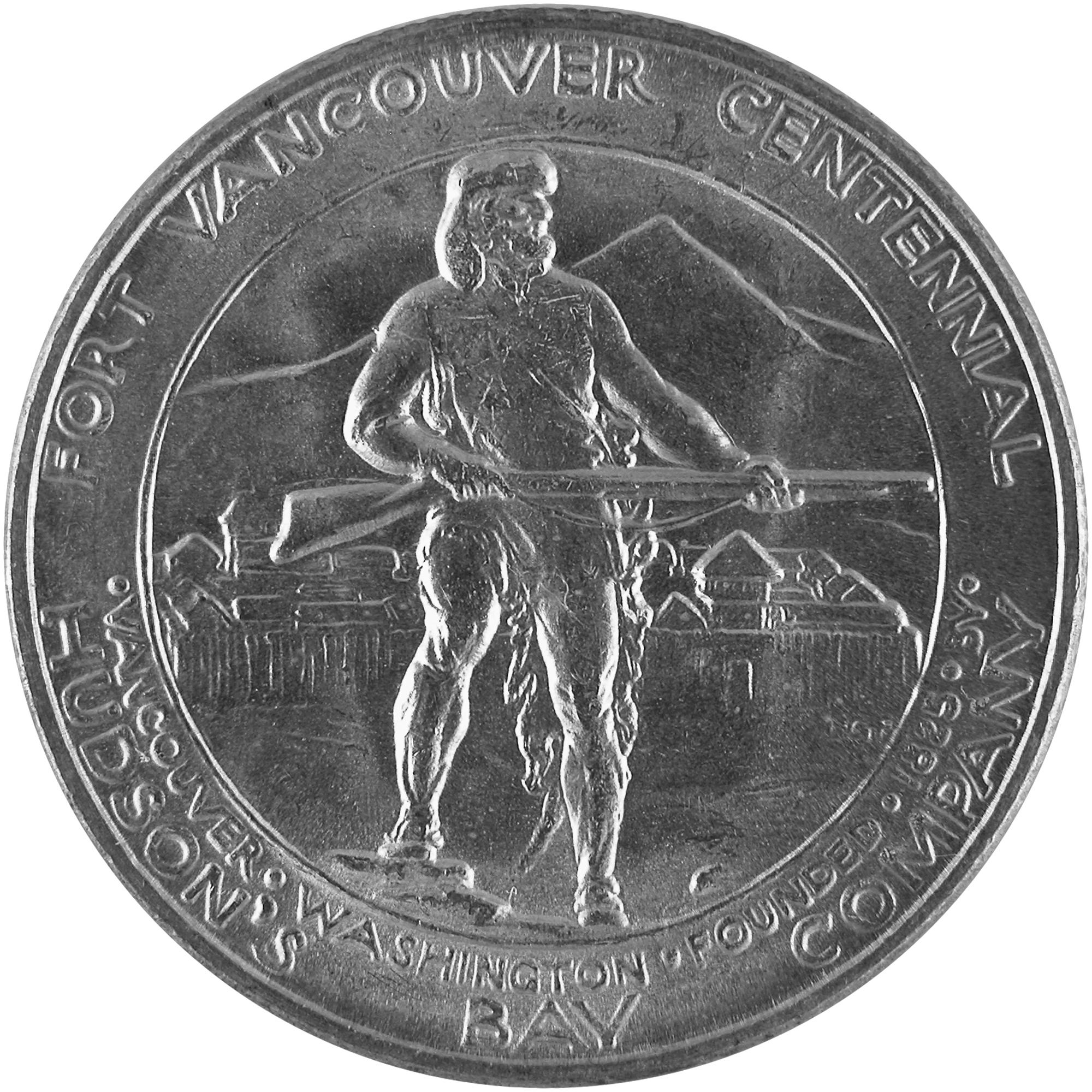 1925 Fort Vancouver Centennial Commemorative Silver Half Dollar Coin Reverse
