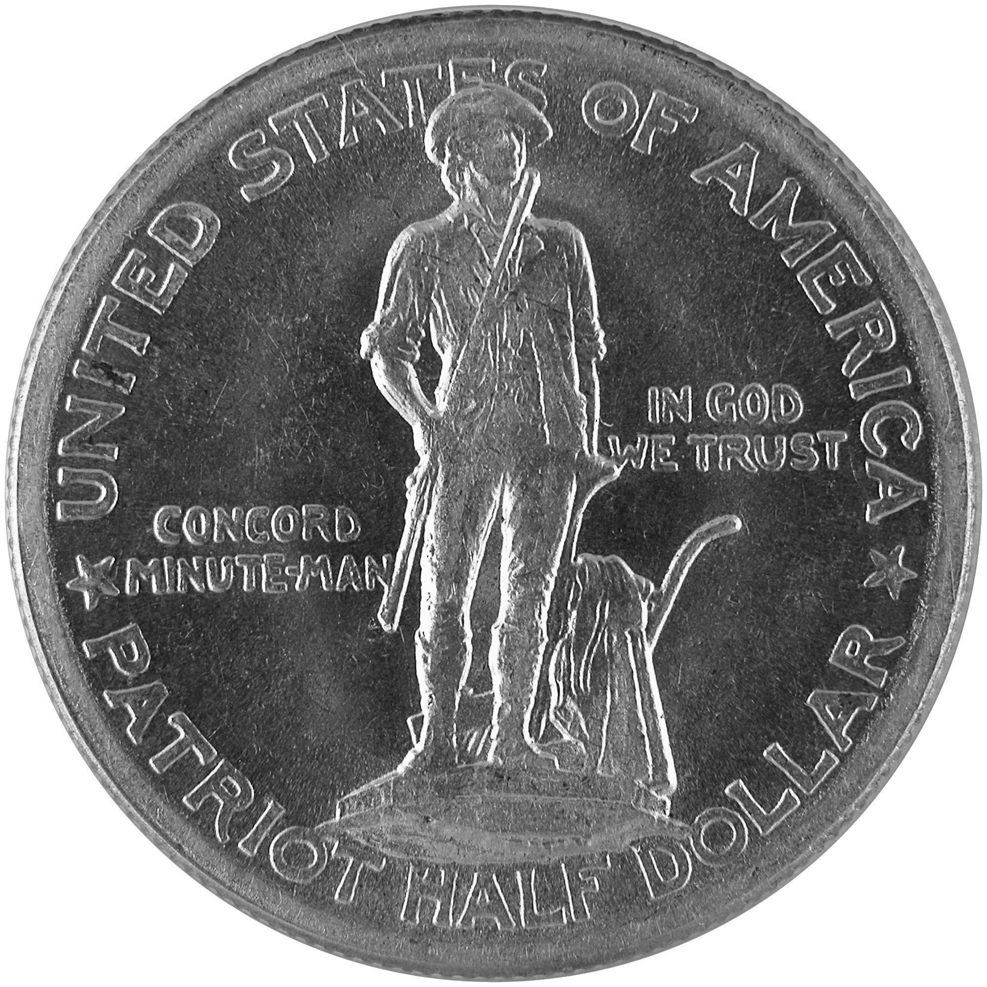 1925 Lexington Concord Sesquicentennial Commemorative Silver Half Dollar Coin Obverse