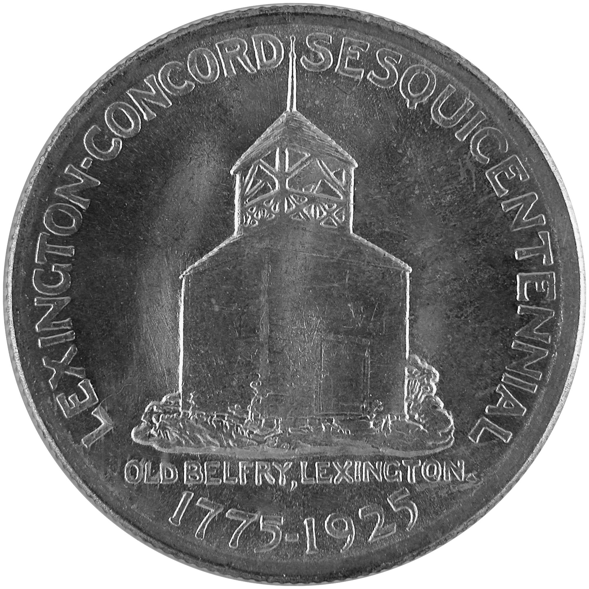 1925 Lexington Concord Sesquicentennial Commemorative Silver Half Dollar Coin Reverse