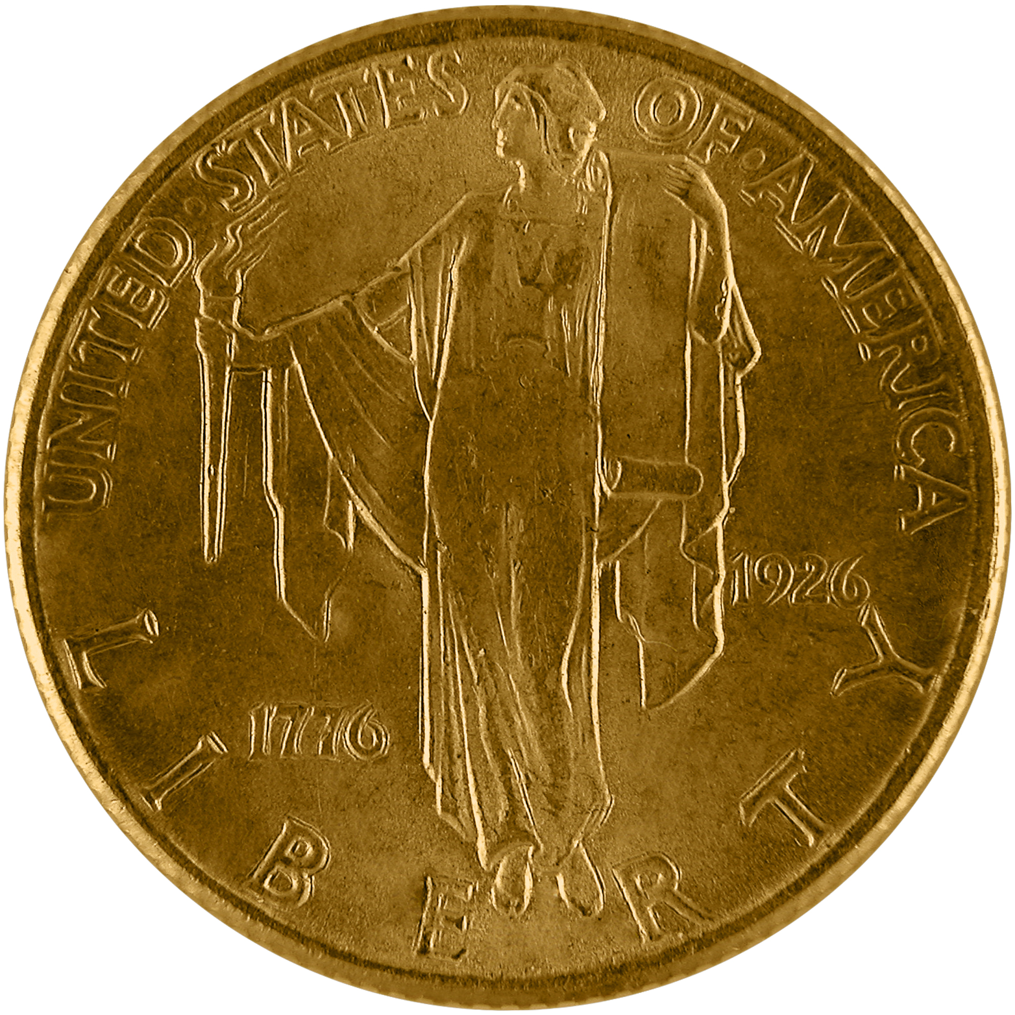 1926 Sesquicentennial American Independence Commemorative Gold Quarter Eagle Two And One Half Dollar Coin Obverse