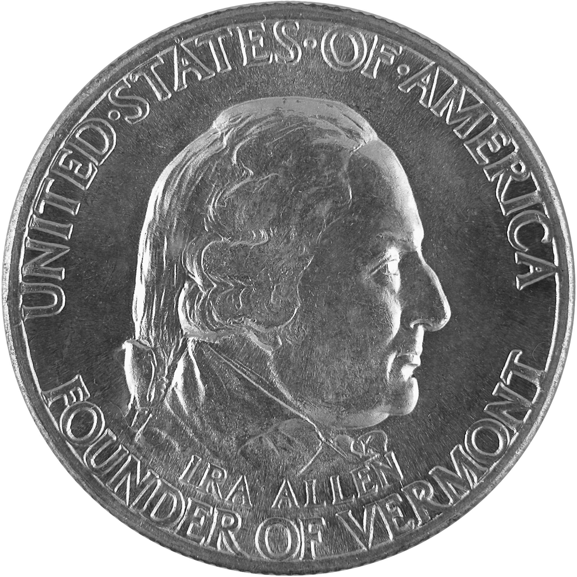 1927 Vermont Sesquicentennial Commemorative Silver Half Dollar Coin Obverse