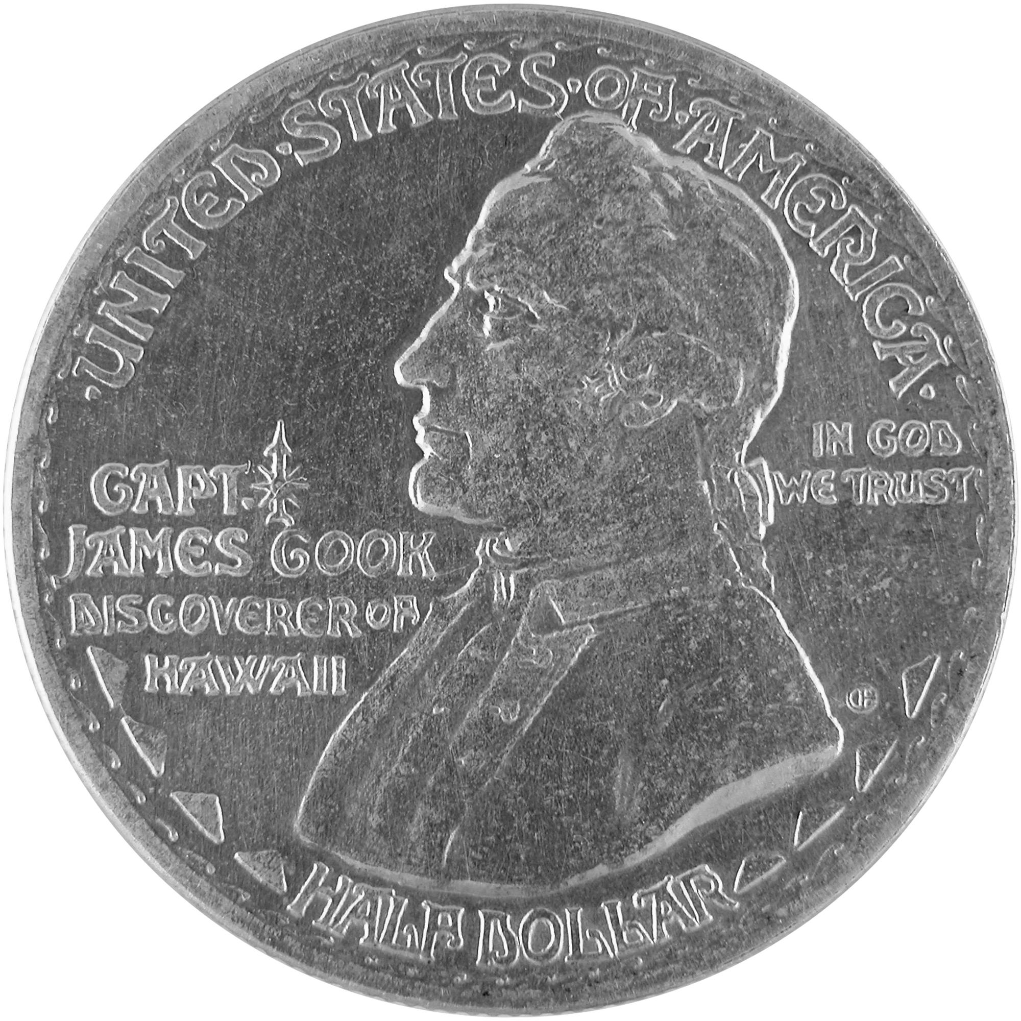 1928 Hawaiian Sesquicentennial Commemorative Silver Half Dollar Coin Obverse
