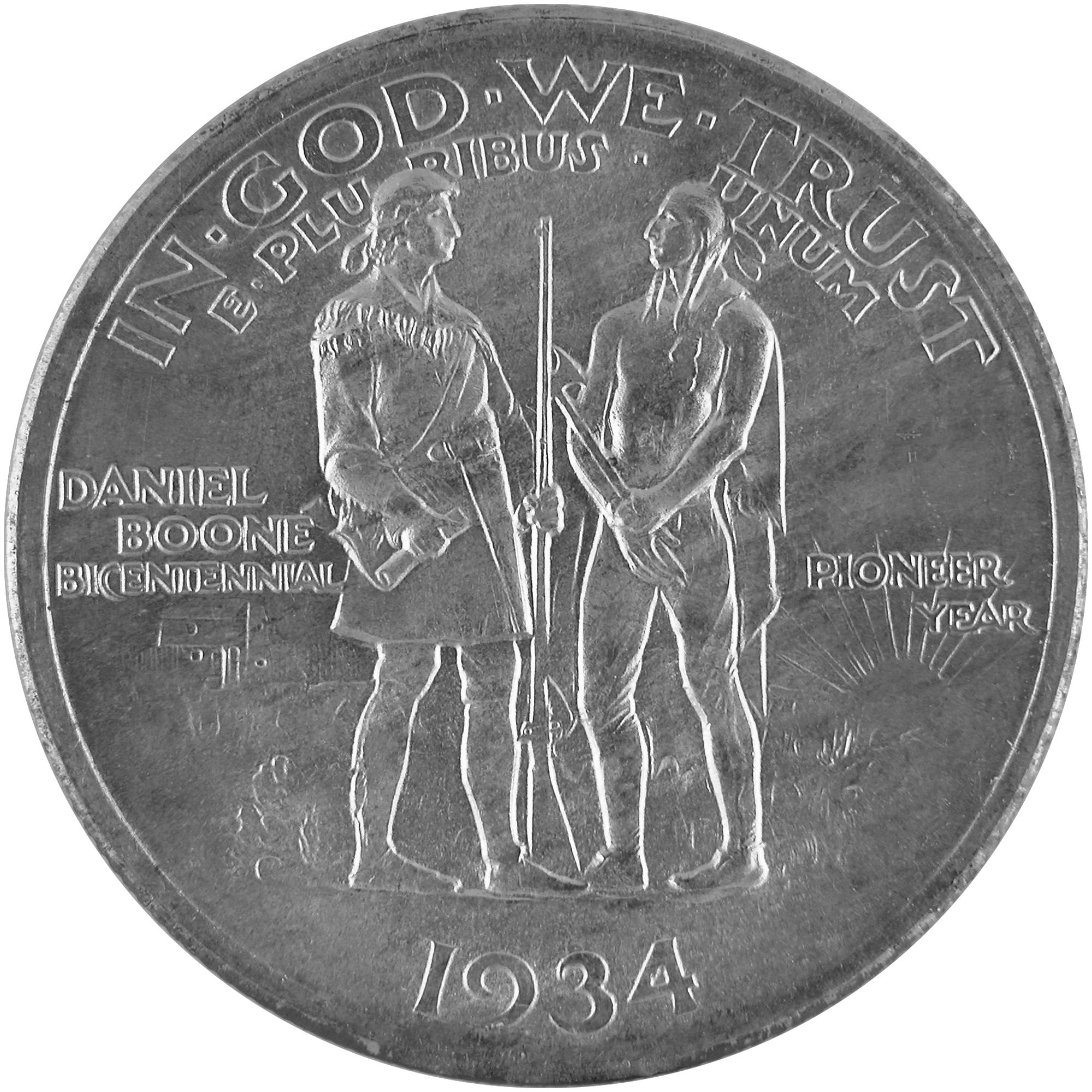 1934 Daniel Boone Bicentennial Commemorative Silver Half Dollar Coin Reverse