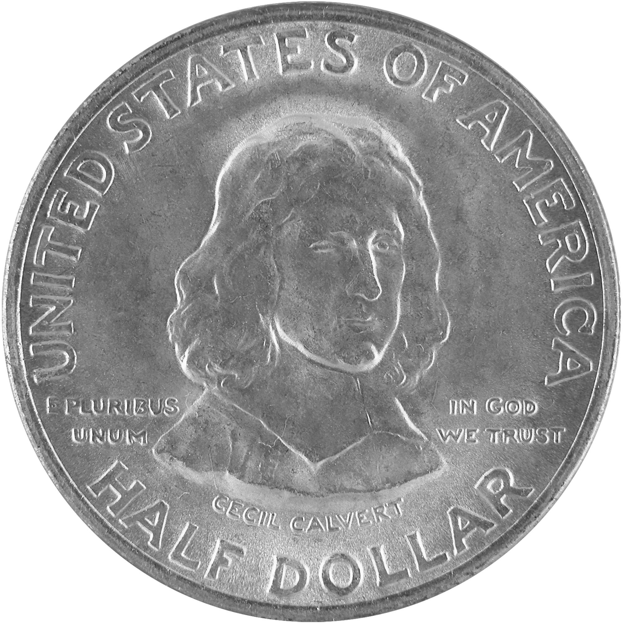 1934 Maryland Tercentenary Commemorative Silver Half Dollar Coin Obverse