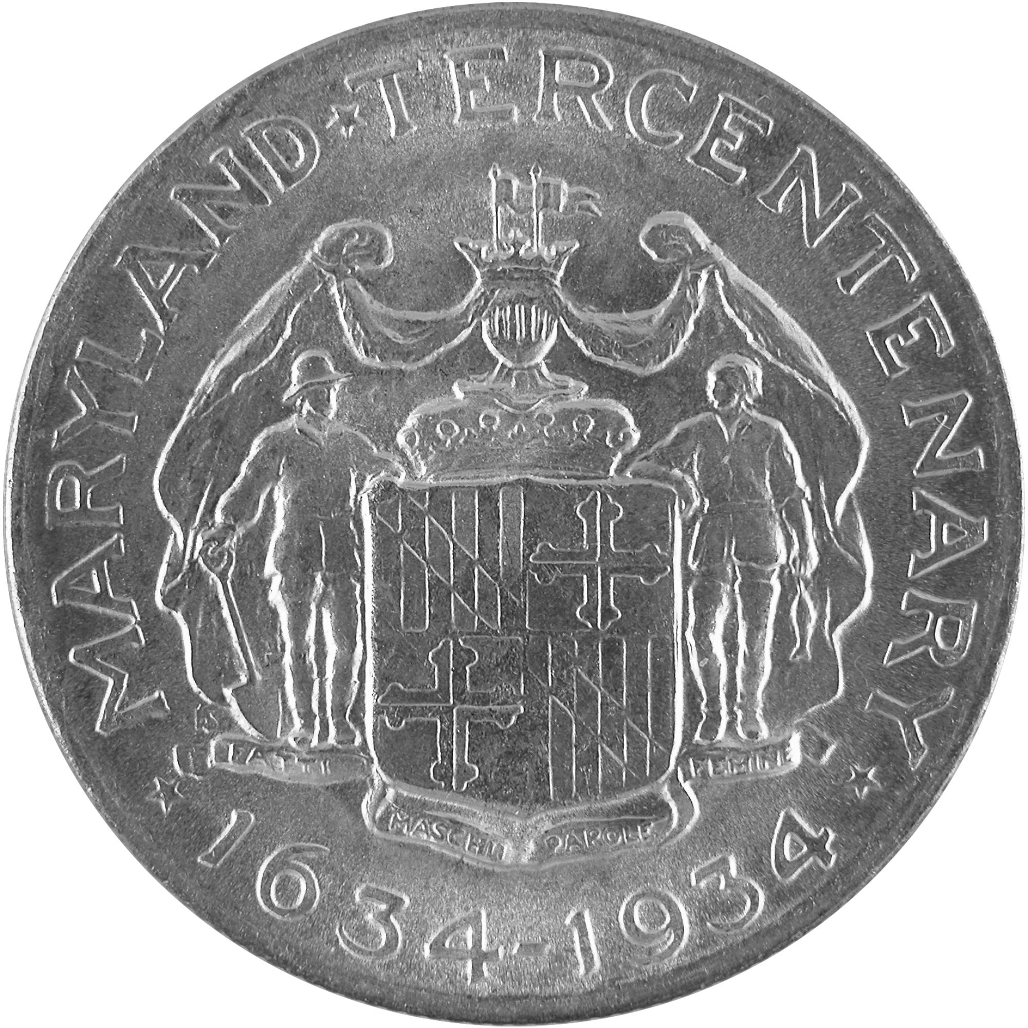 1934 Maryland Tercentenary Commemorative Silver Half Dollar Coin Reverse
