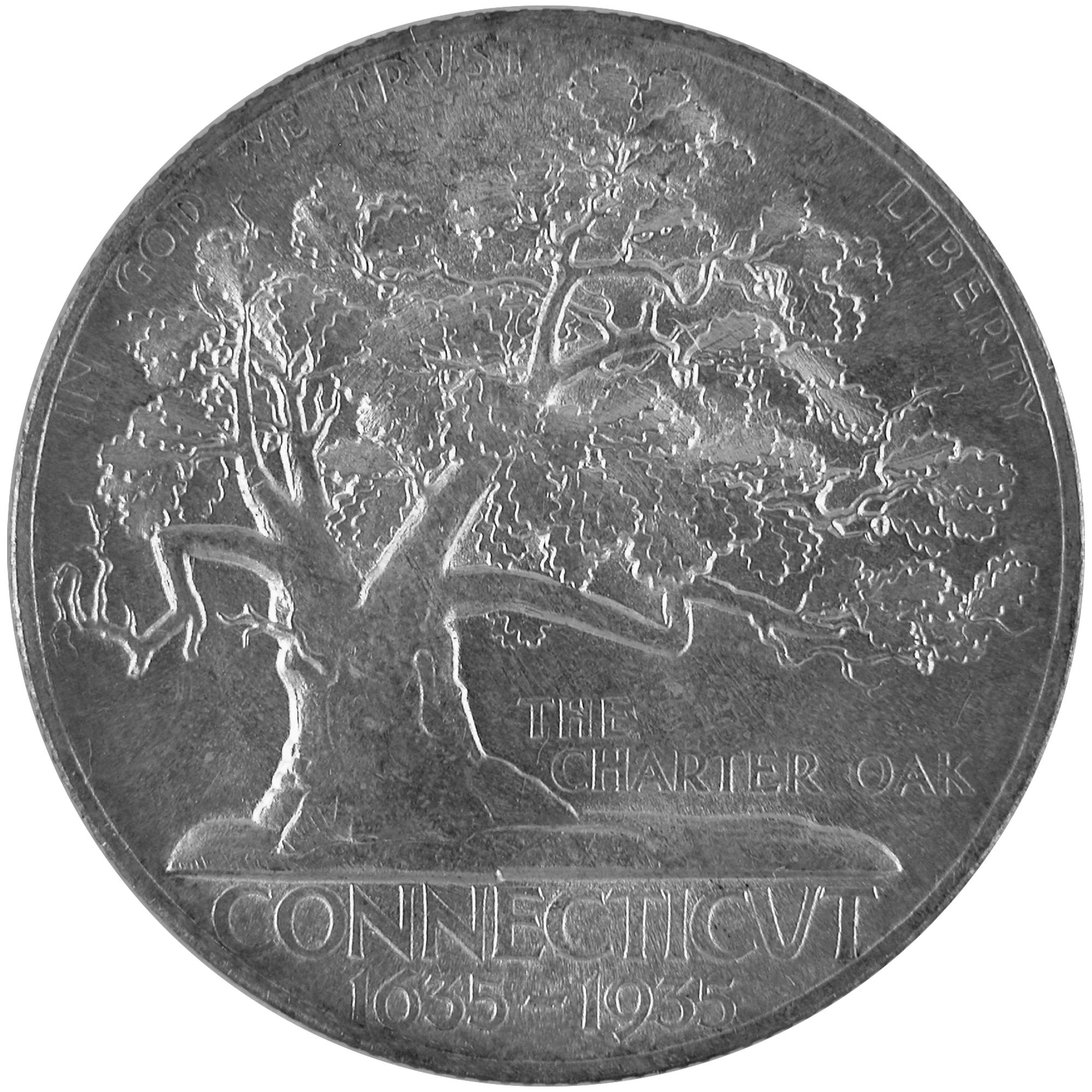 1935 Connecticut Tercentenary Commemorative Silver Half Dollar Coin Reverse