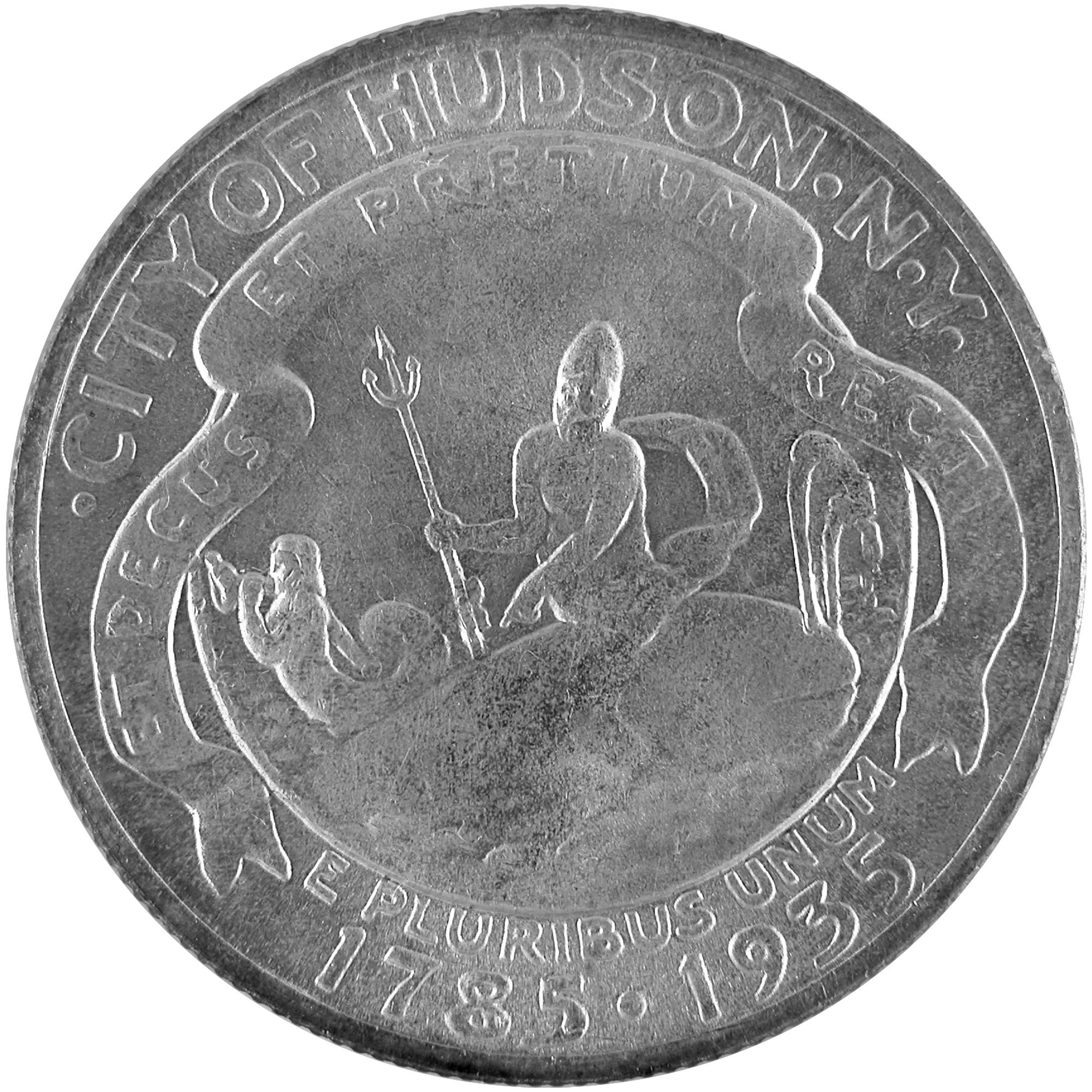 1935 Hudson New York Sesquicentennial Commemorative Silver Half Dollar Coin Obverse