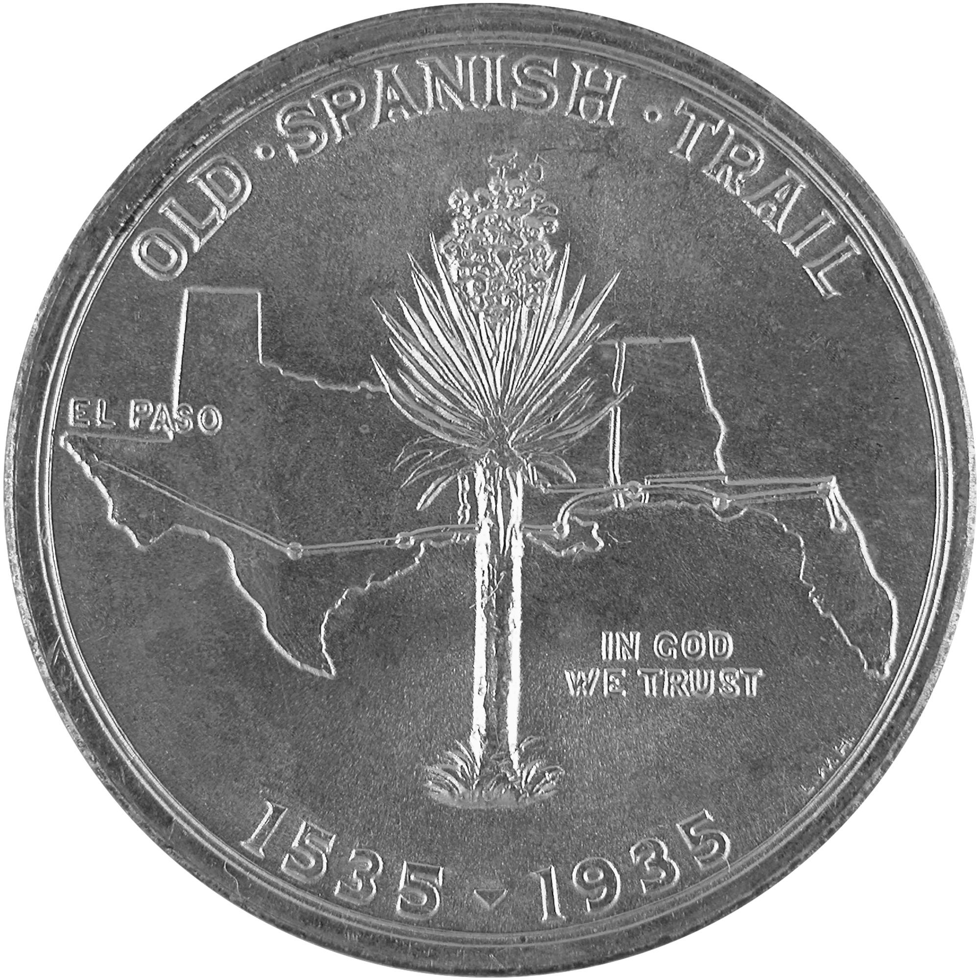 1935 Old Spanish Trail Quadricentennial Commemorative Silver Half Dollar Coin Reverse