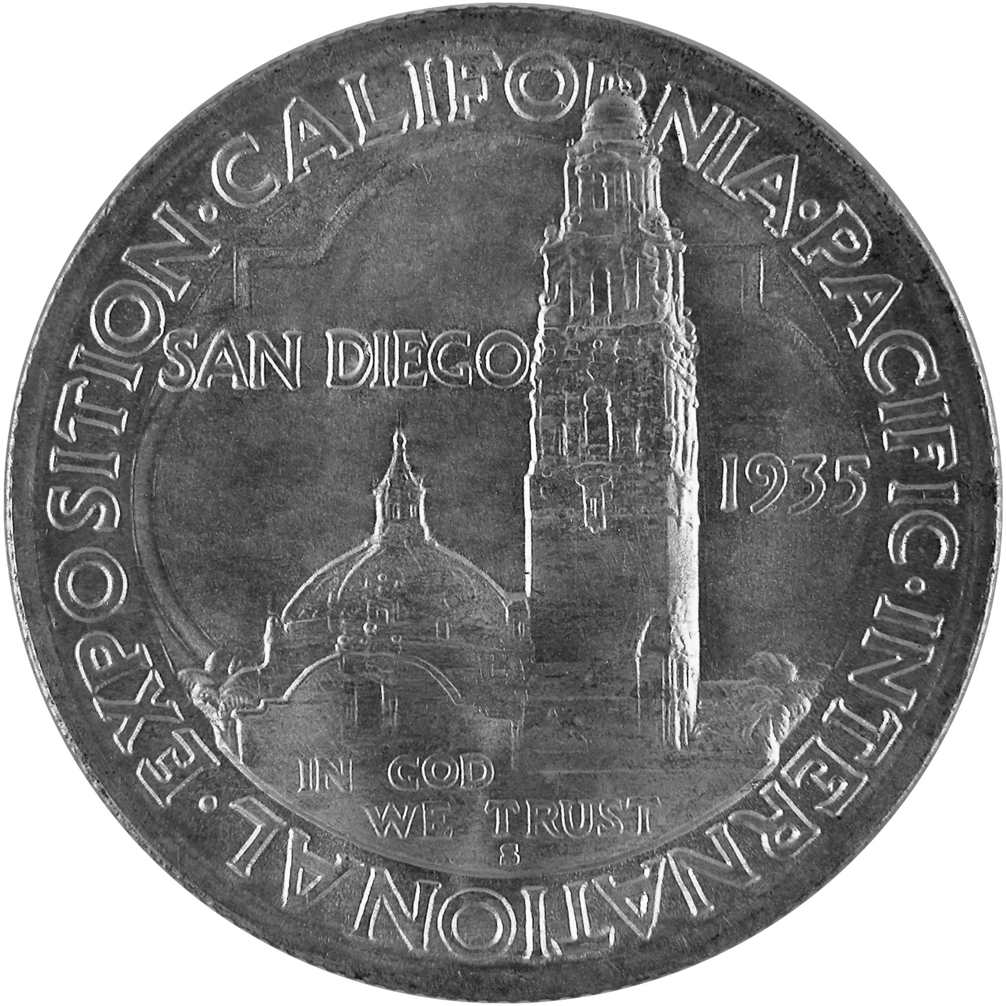 1935 San Diego California Pacific Exposition Commemorative Silver Half Dollar Coin Reverse