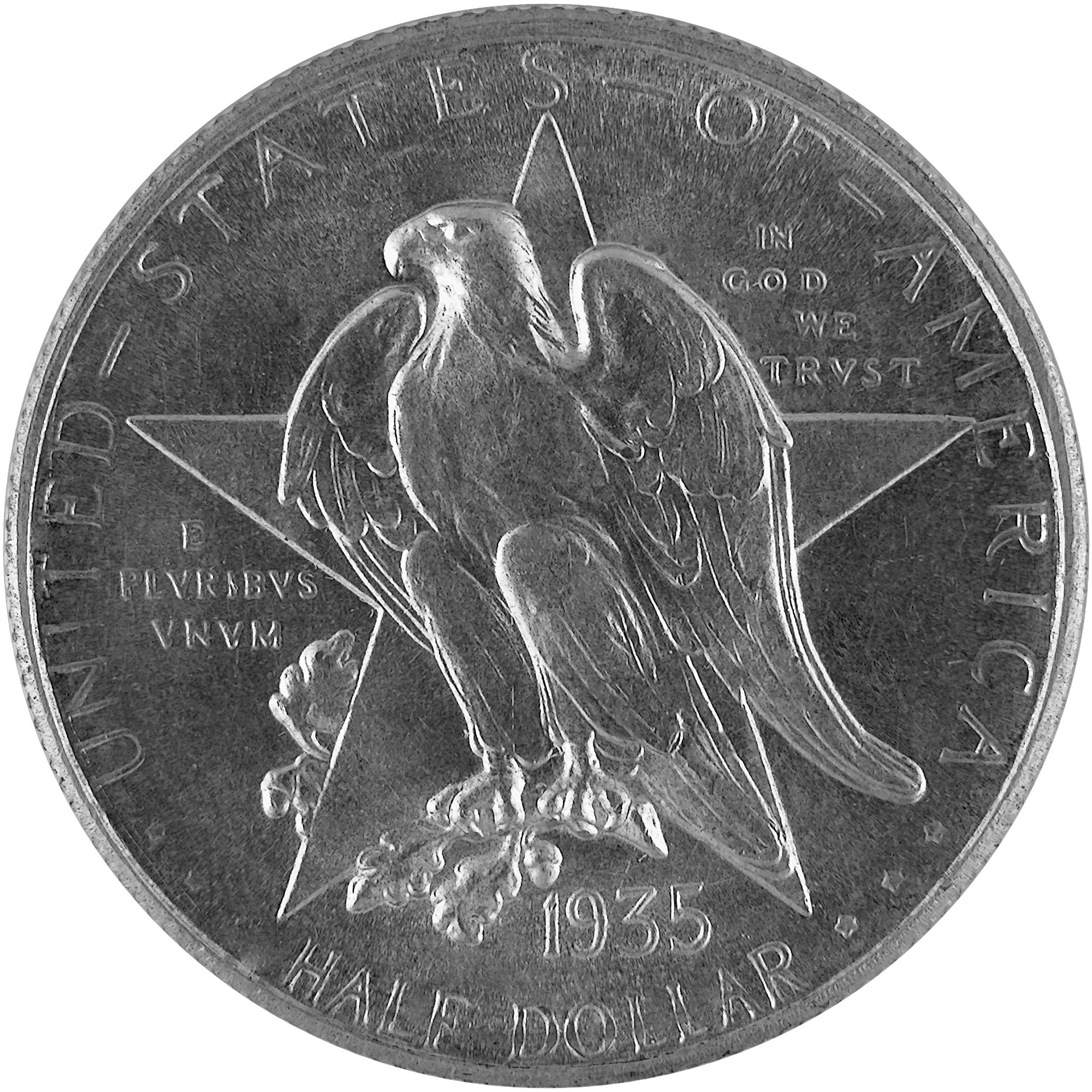 1935 Texas Centennial Commemorative Silver Half Dollar Coin Obverse