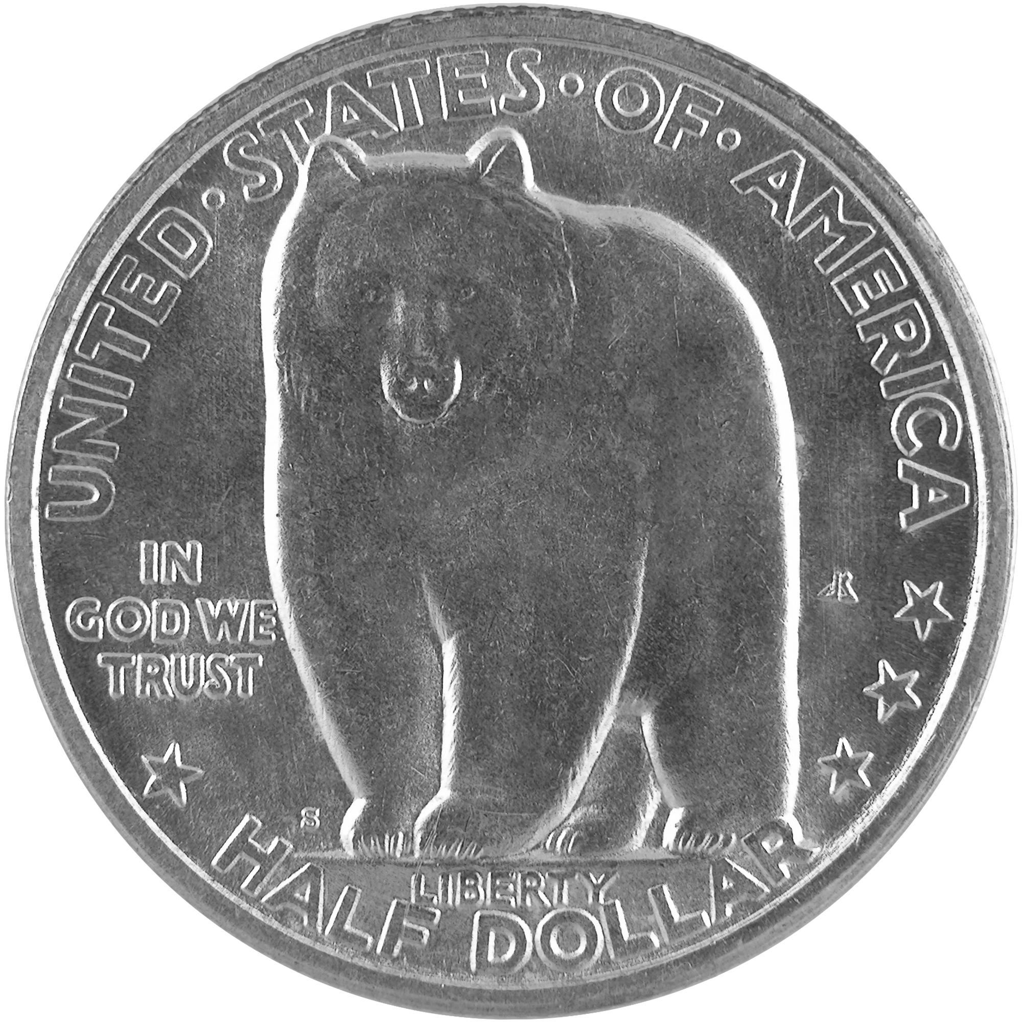 1936 Bay Bridge San Francisco Oakland Commemorative Silver Half Dollar Coin Obverse