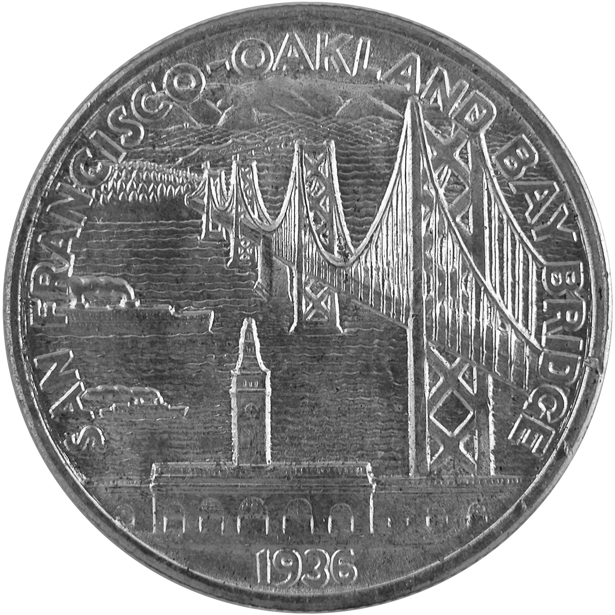 1936 Bay Bridge San Francisco Oakland Commemorative Silver Half Dollar Coin Reverse
