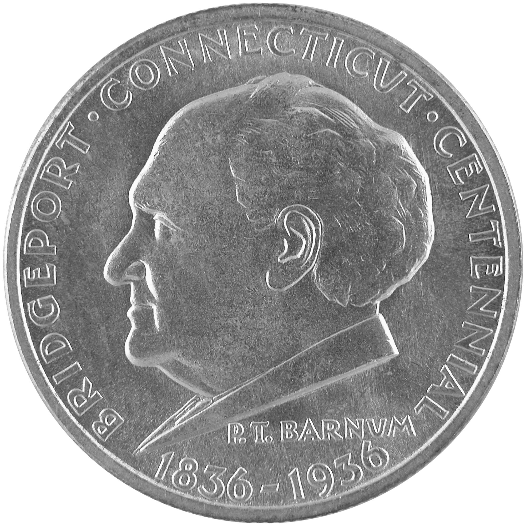 1936 Bridgeport Connecticut Centennial Commemorative Silver Half Dollar Coin Obverse