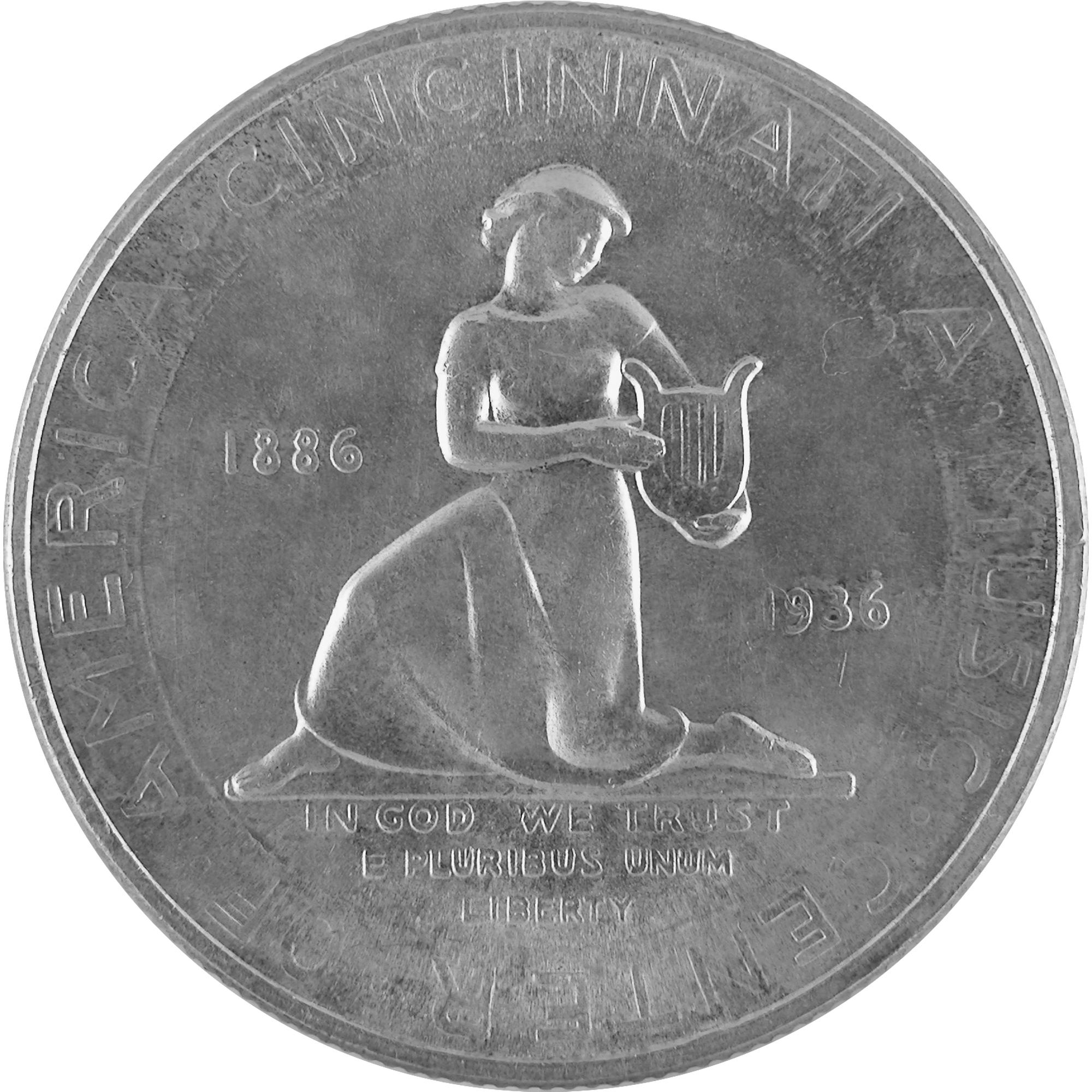 1936 Cincinnati Music Center Fiftieth Anniversary Commemorative Silver Half Dollar Coin Reverse