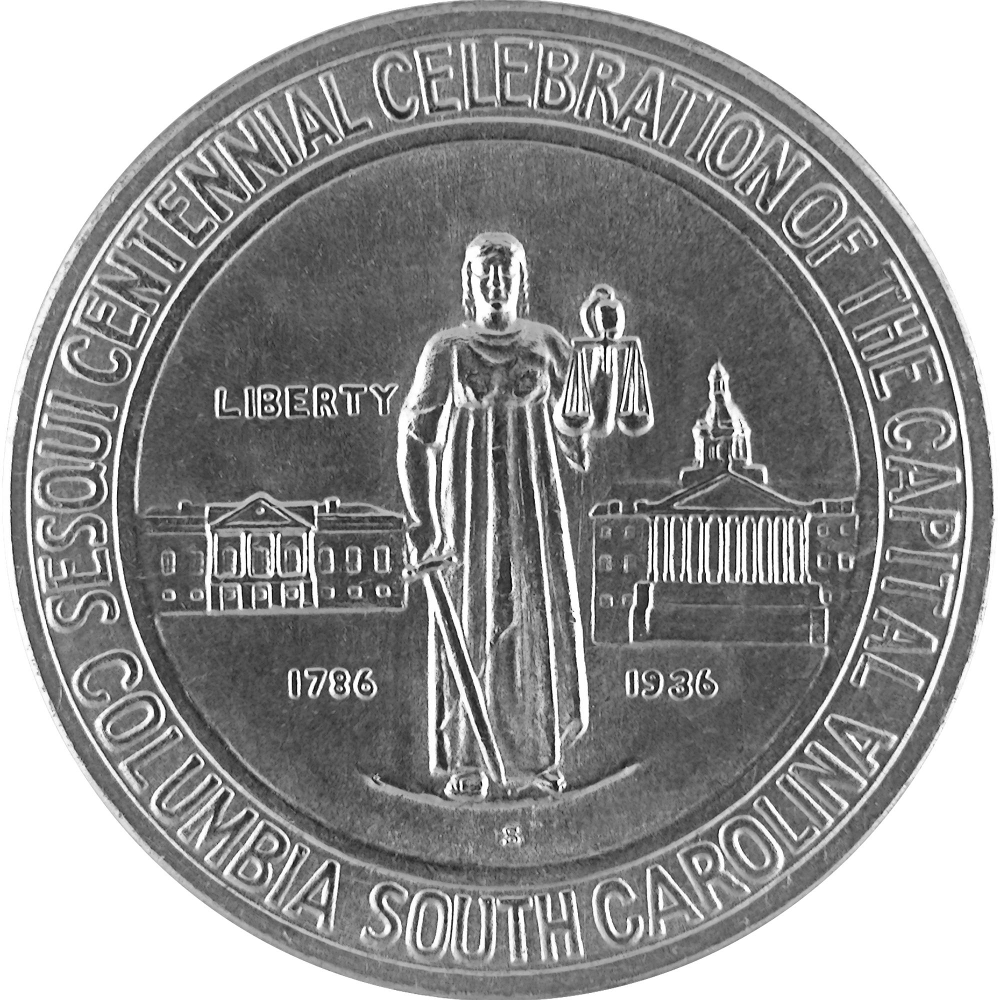 1936 Columbia South Carolina Sesquicentennial Commemorative Silver Half Dollar Coin Obverse