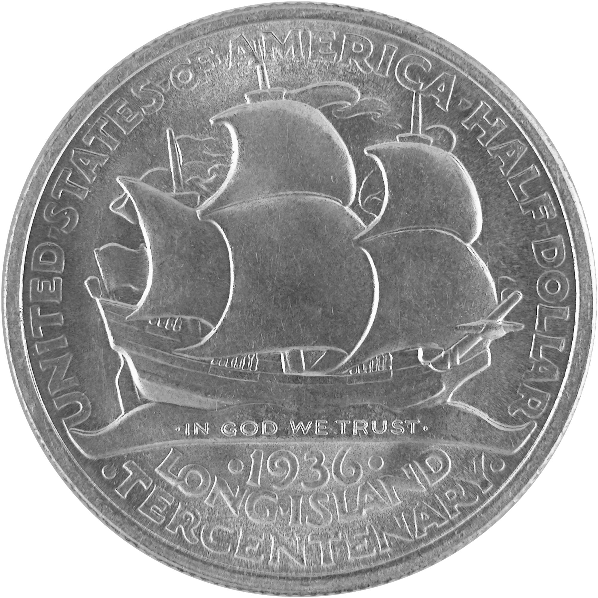 1936 Long Island Tercentenary Commemorative Silver Half Dollar Coin Reverse