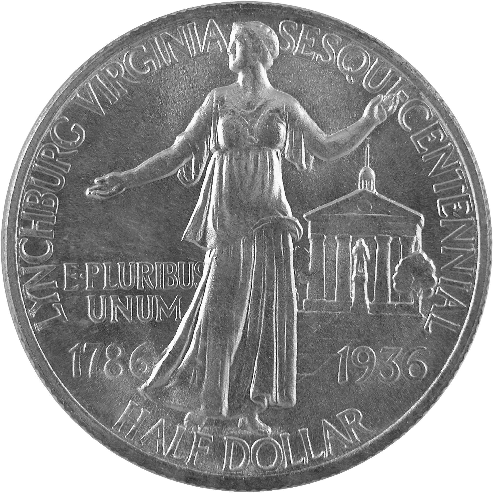 1936 Lynchburg Virginia Sesquicentennial Commemorative Silver Half Dollar Coin Reverse