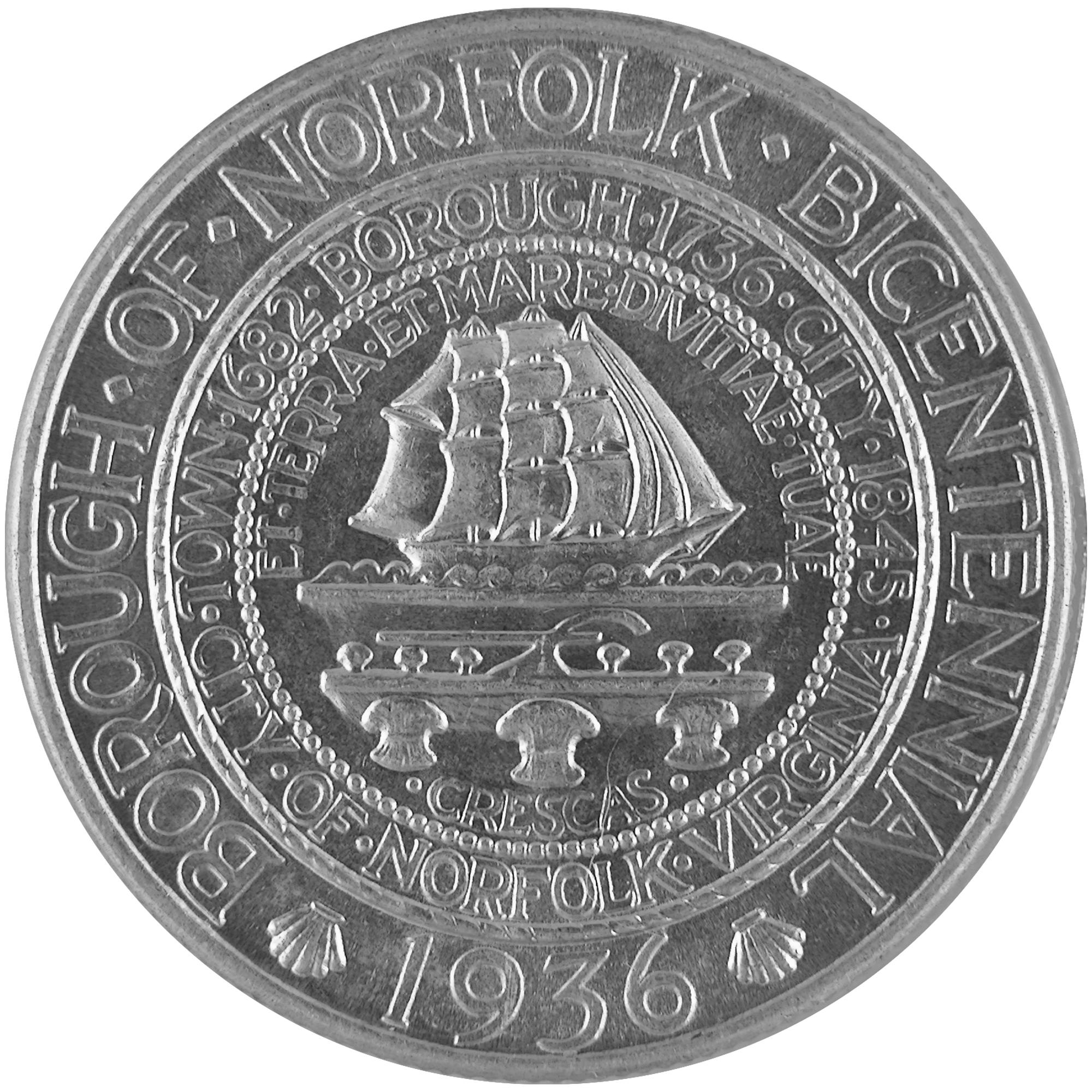 1936 Norfolk Virginia Bicentennial Commemorative Silver Half Dollar Coin Obverse