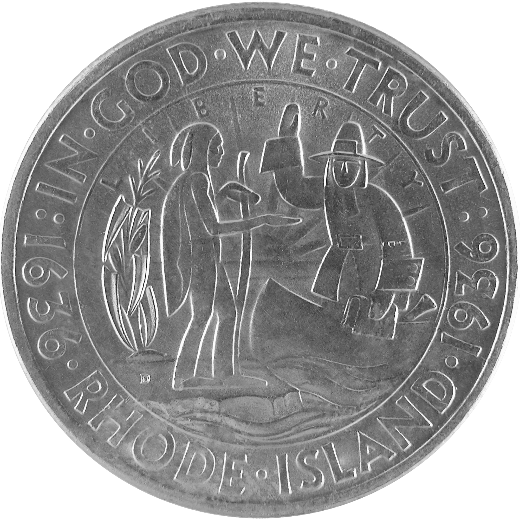 1936 Rhode Island Tercentenary Commemorative Silver Half Dollar Coin Obverse