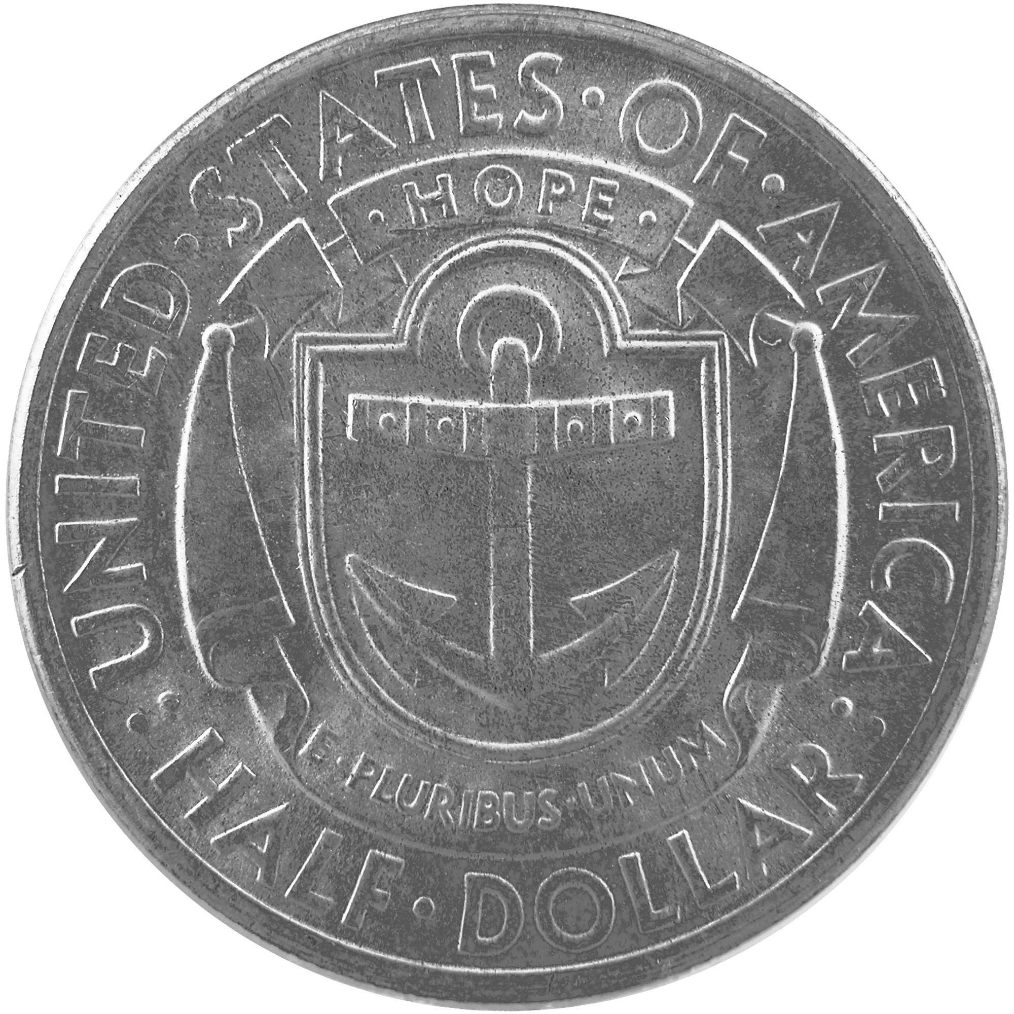 1936 Rhode Island Tercentenary Commemorative Silver Half Dollar Coin Reverse