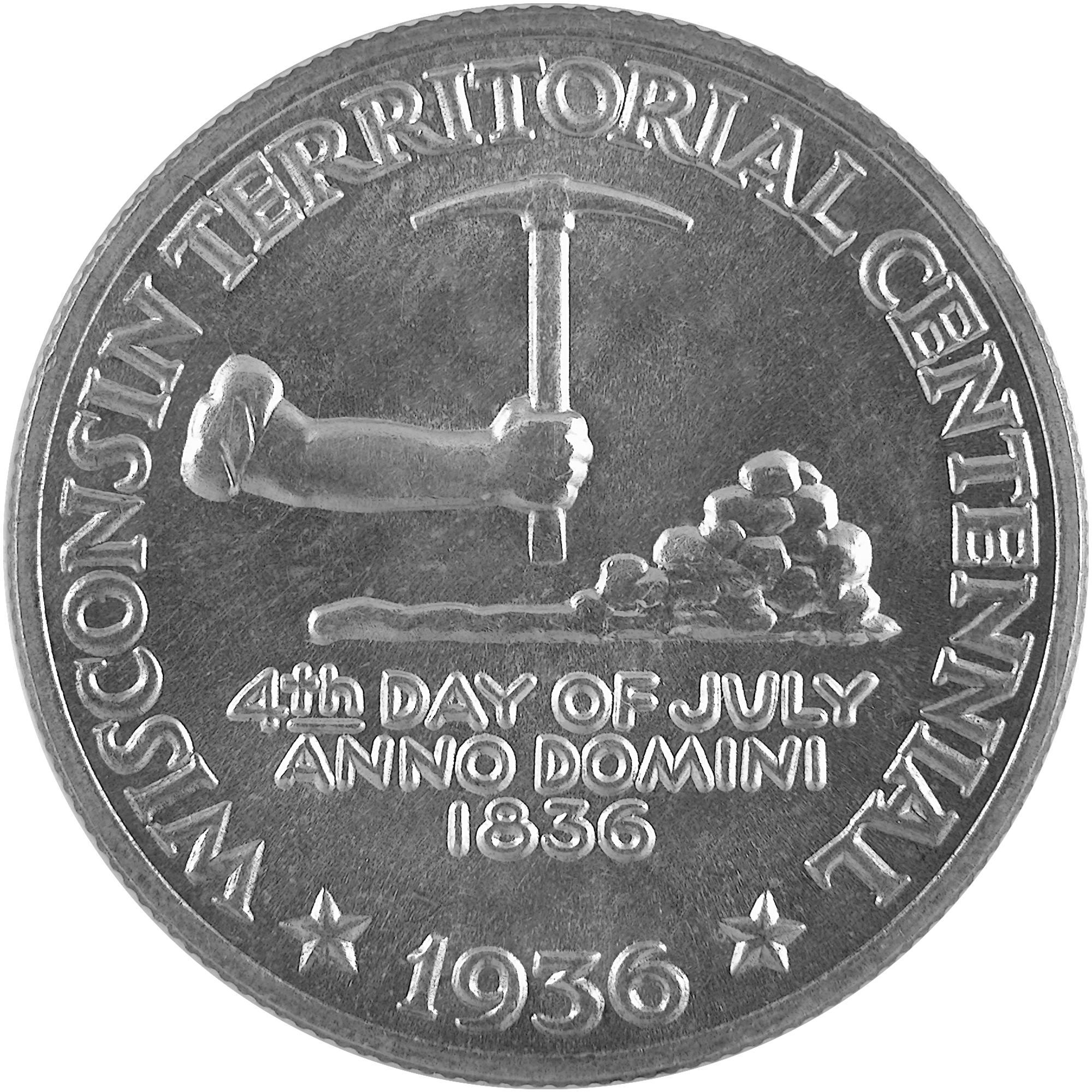 1936 Wisconsin Territory Centennial Commemorative Silver Half Dollar Coin Reverse