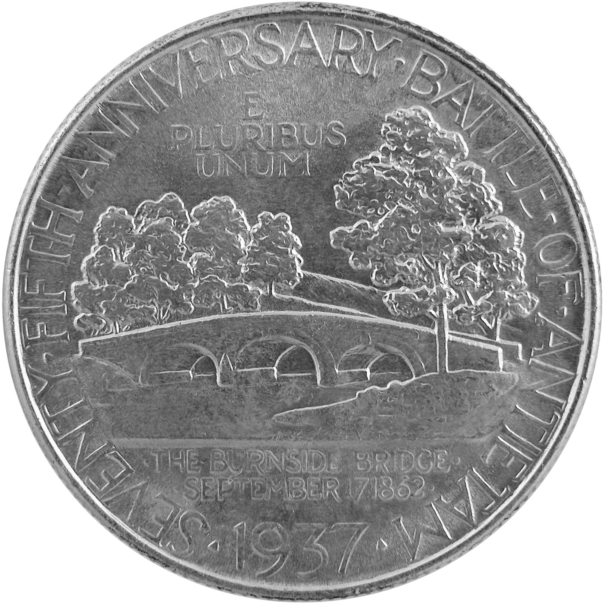 1937 Battle Of Antietam Seventy Fifth Anniversary Commemorative Silver Half Dollar Coin Reverse