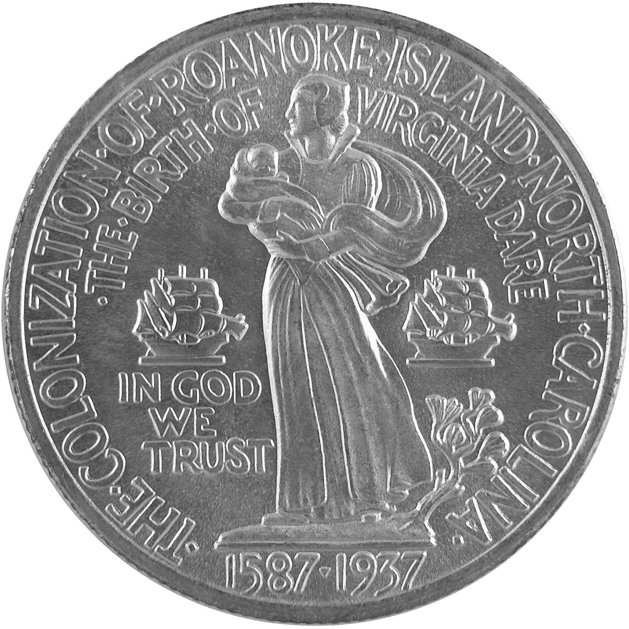 1937 Roanoke Island North Carolina Commemorative Silver Half Dollar Coin Reverse