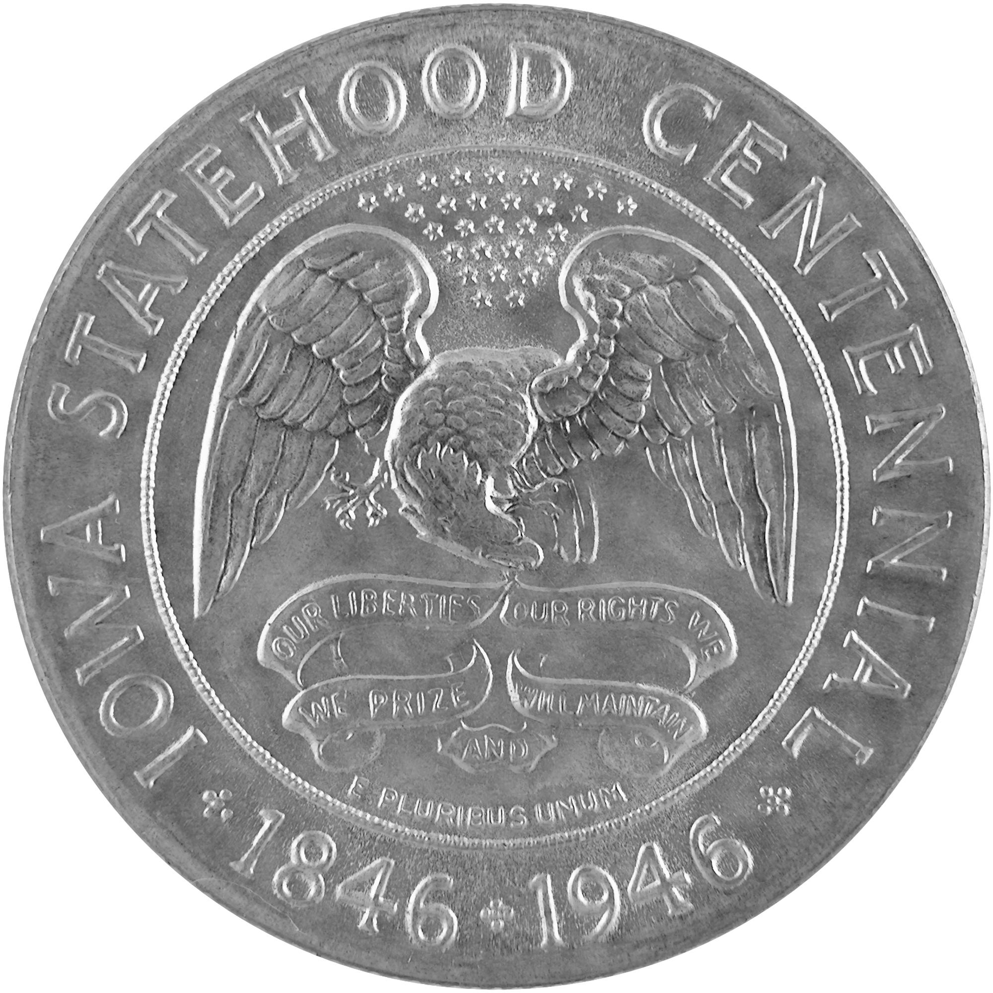 1946 Iowa Statehood Centennial Commemorative Silver Half Dollar Coin Reverse