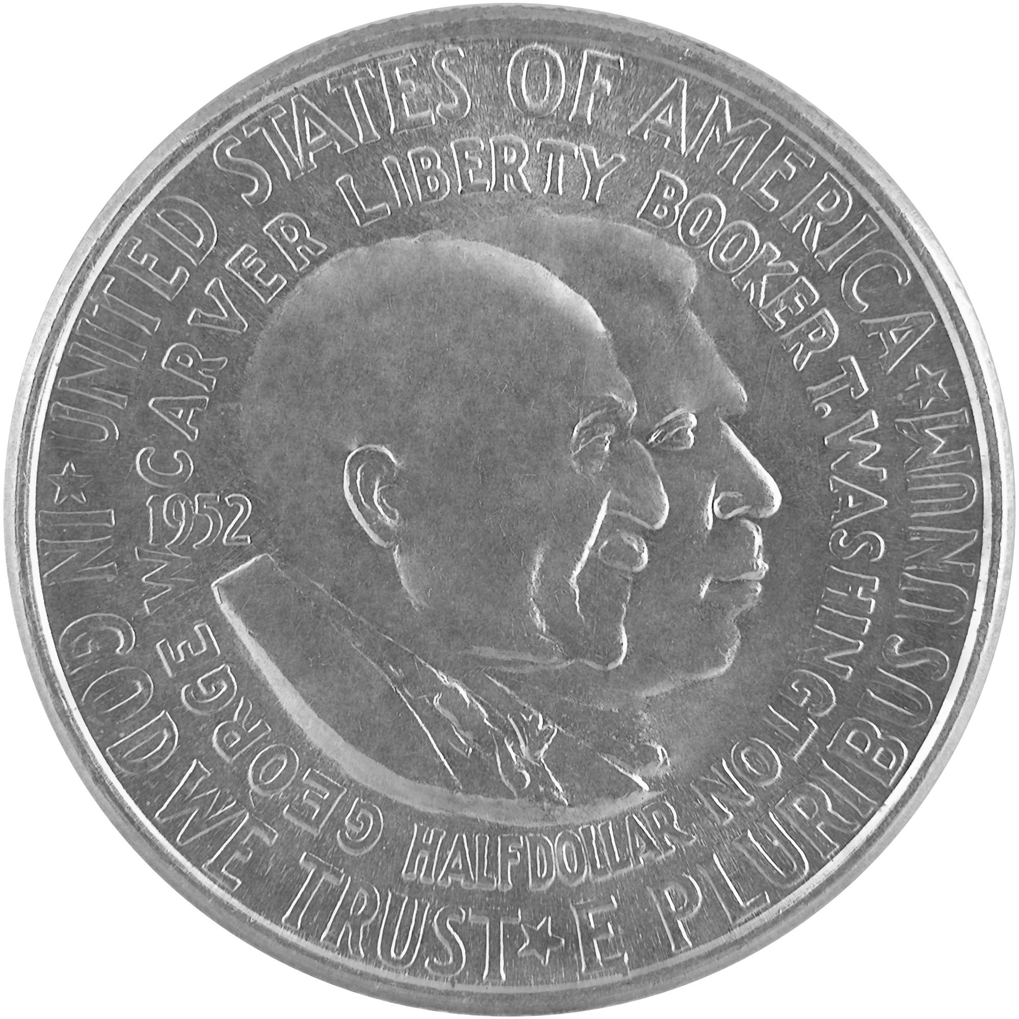 1952 George W. Carver Booker T. Washington Commemorative Silver Half Dollar Coin Obverse