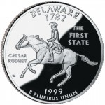 1999 50 State Quarters Coin Delaware Proof Reverse
