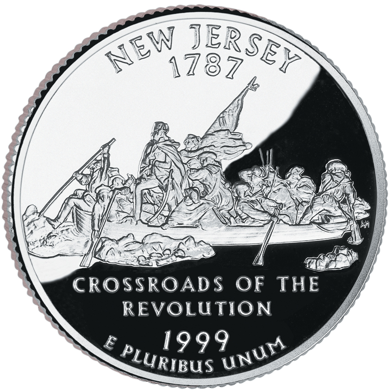 1999 50 State Quarters Coin New Jersey Proof Reverse